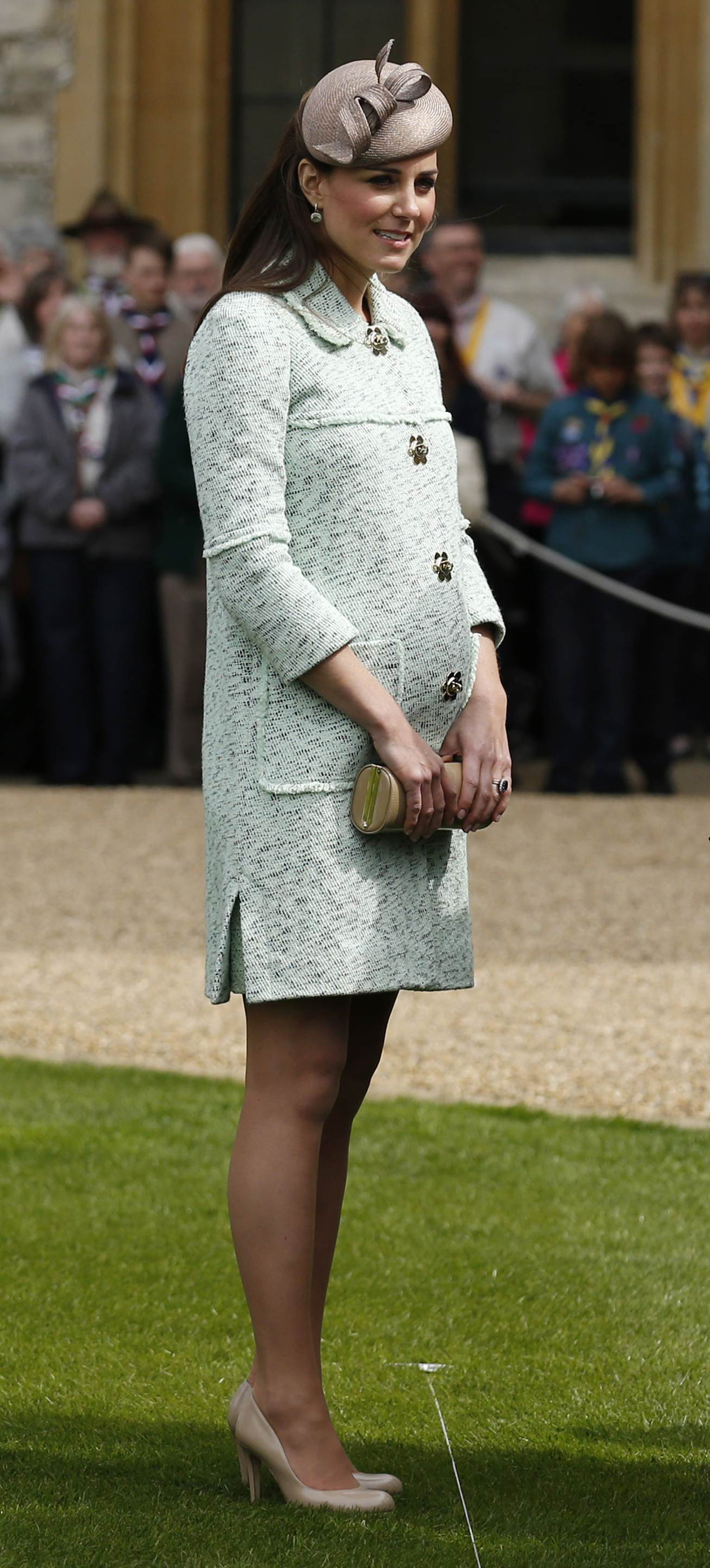 Catherine, Duchess of Cambridge during the National Review of Queen's Scouts at Windsor Castle in Berkshire on April 21, 2013.