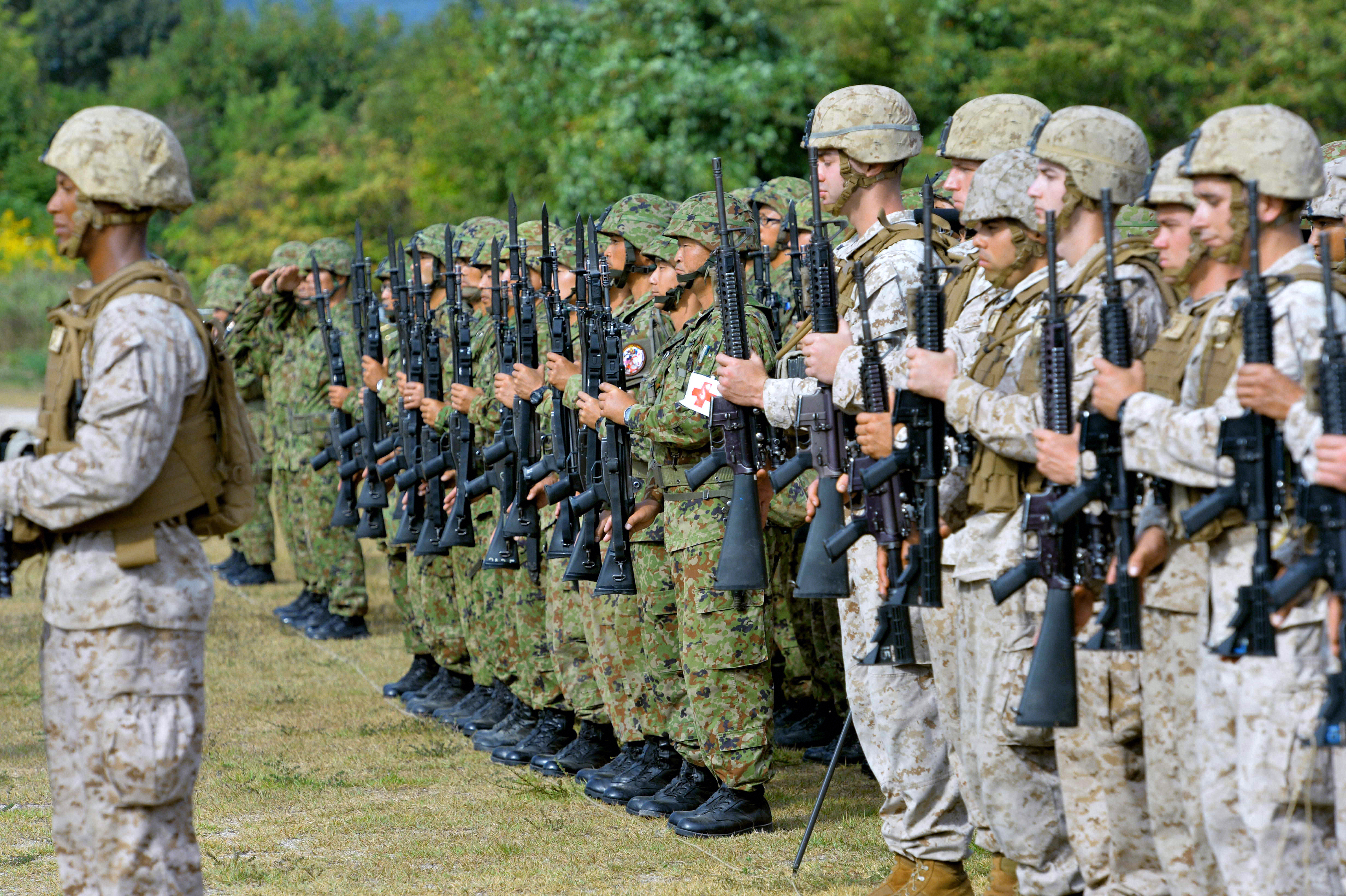 U.S. Marines and members of the Japan Ground Self-Defense Force line up before a joint exercise at the JGSDF's Aibano facility in Takashima, Japan, on Oct. 8, 2013