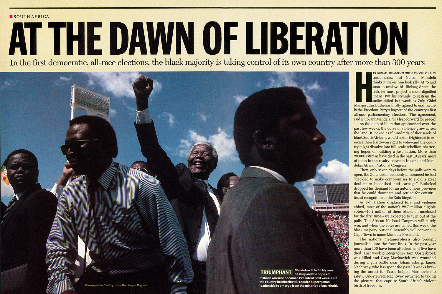 From  At the Dawn of Liberation.  May 2, 1994 issue.