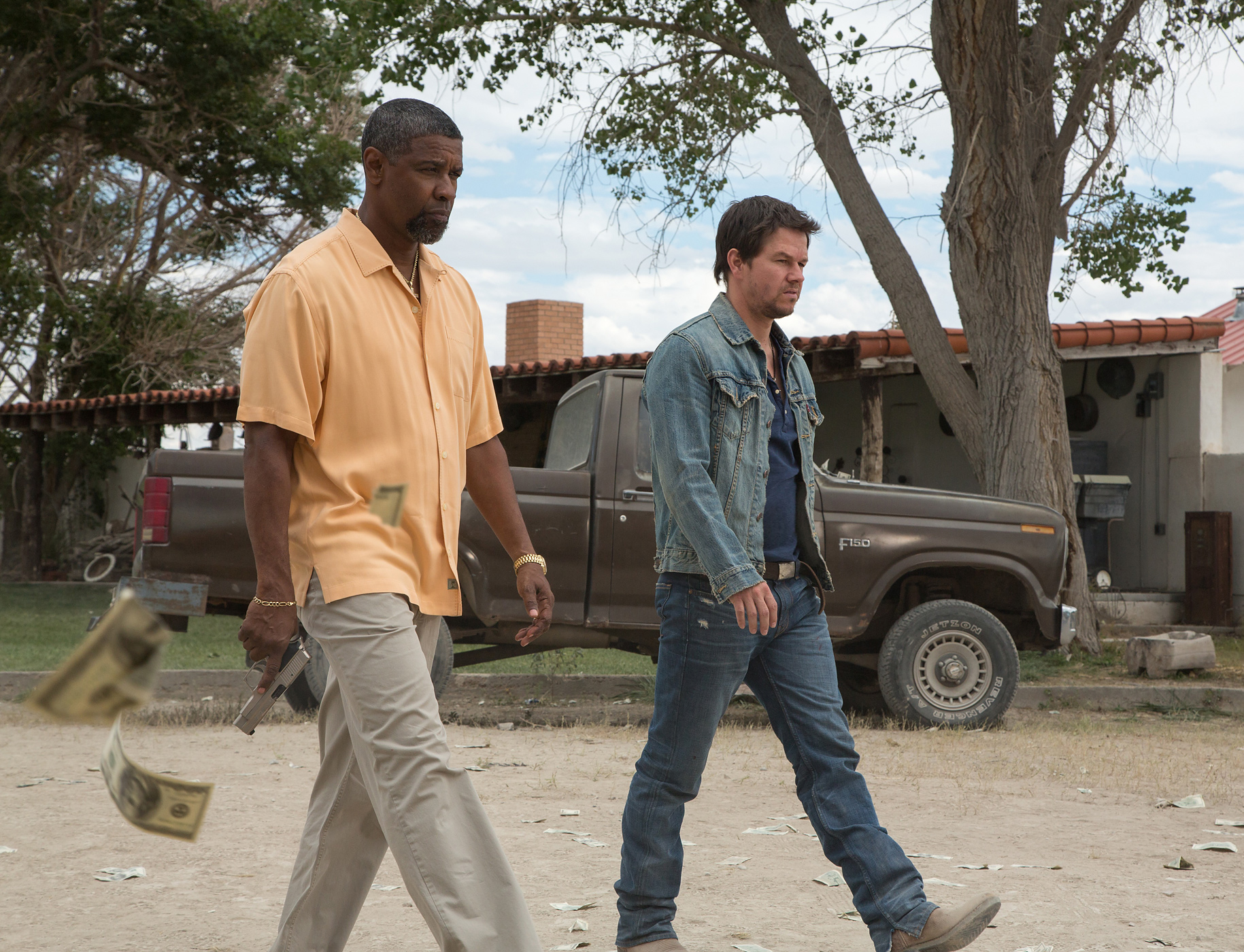 2 Guns (2013) starred Washington and Mark Wahlberg. It might be worth watching the next time you're on a plane if you like action films and/or Washington and/or Wahlberg.