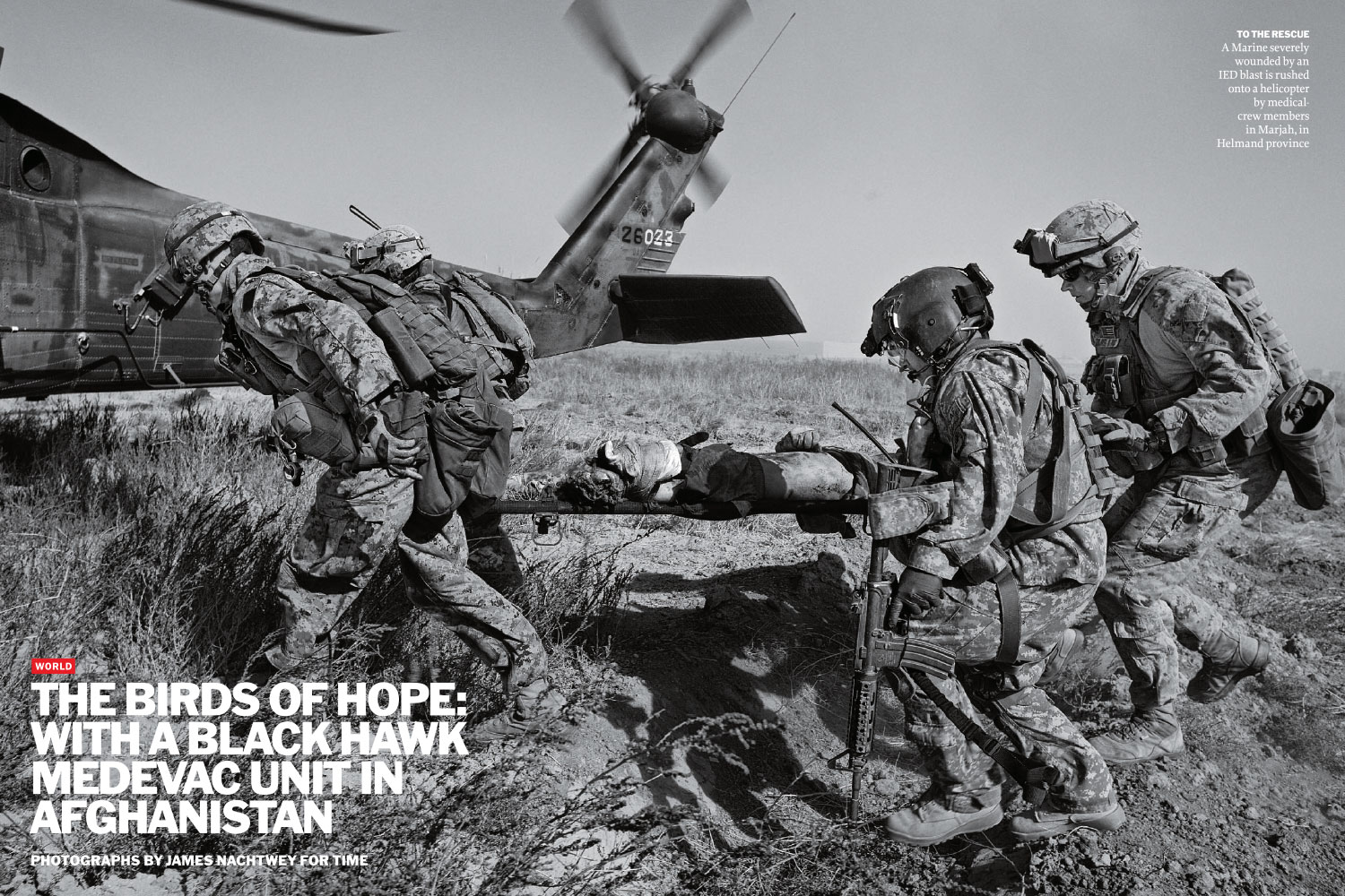 From  The Birds Of Hope: With A Black Hawk Medevac Unit In Afghanistan.  January 17, 2011 issue.