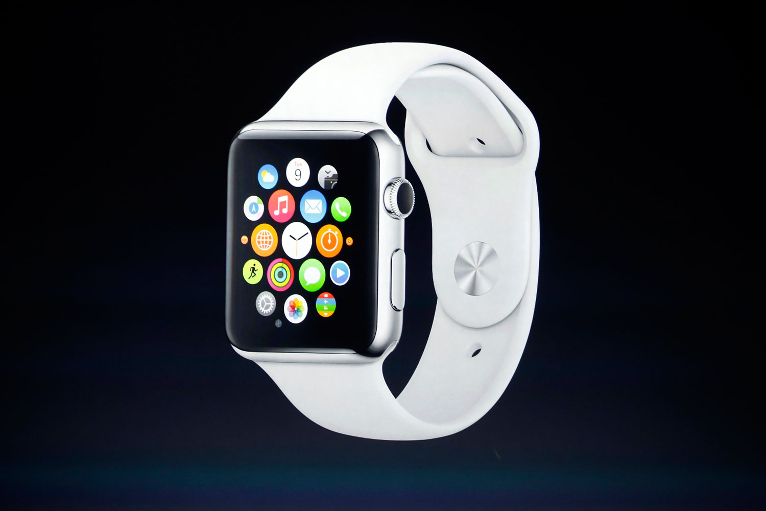 An Apple Watch is seen during an Apple event at the Flint Center in Cupertino, Calif., Sept. 9, 2014.