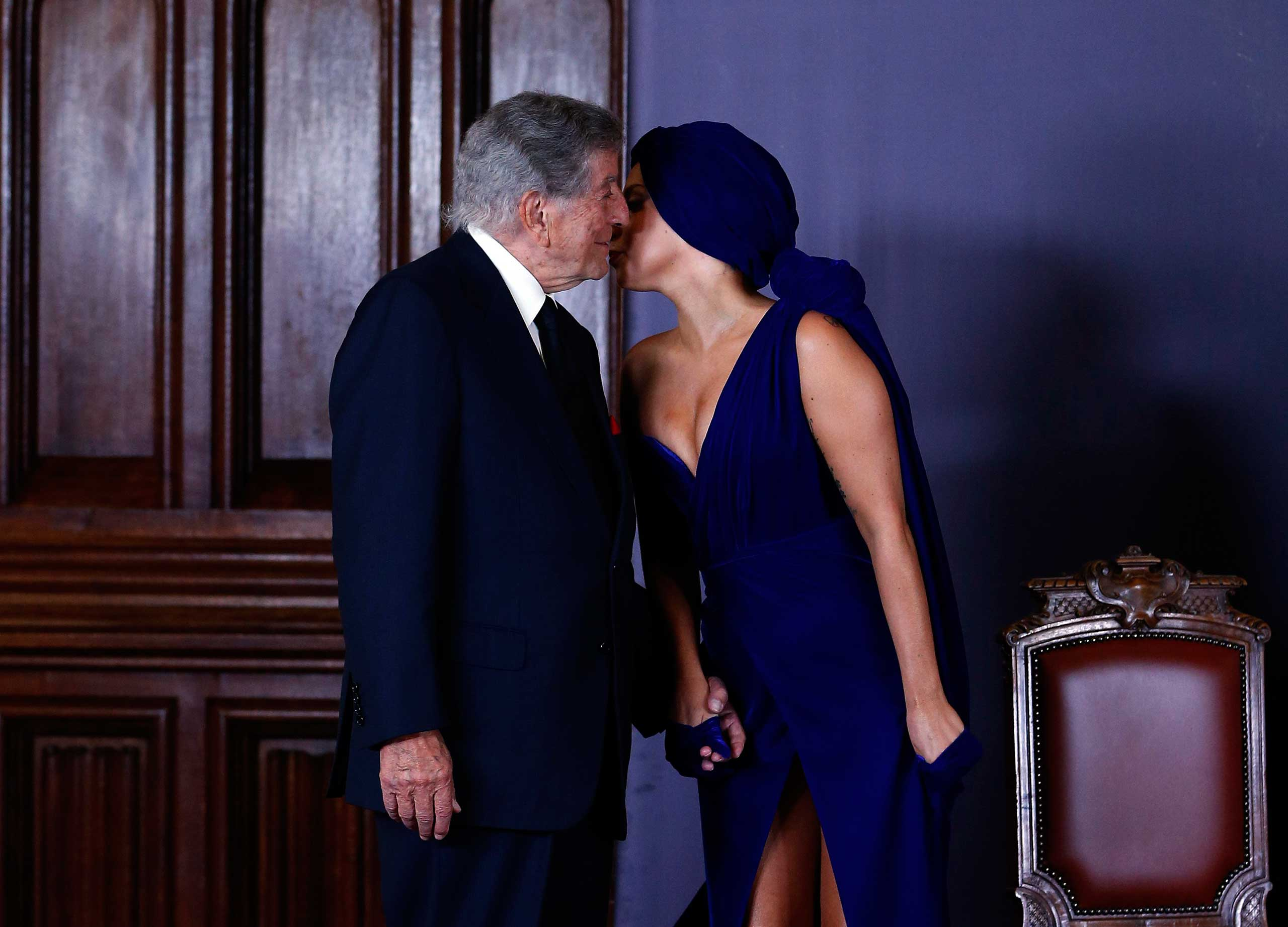 Sept. 22, 2014. Singers Lady Gaga and Tony Bennett arrive at a news conference, ahead of their concert, in Brussels.