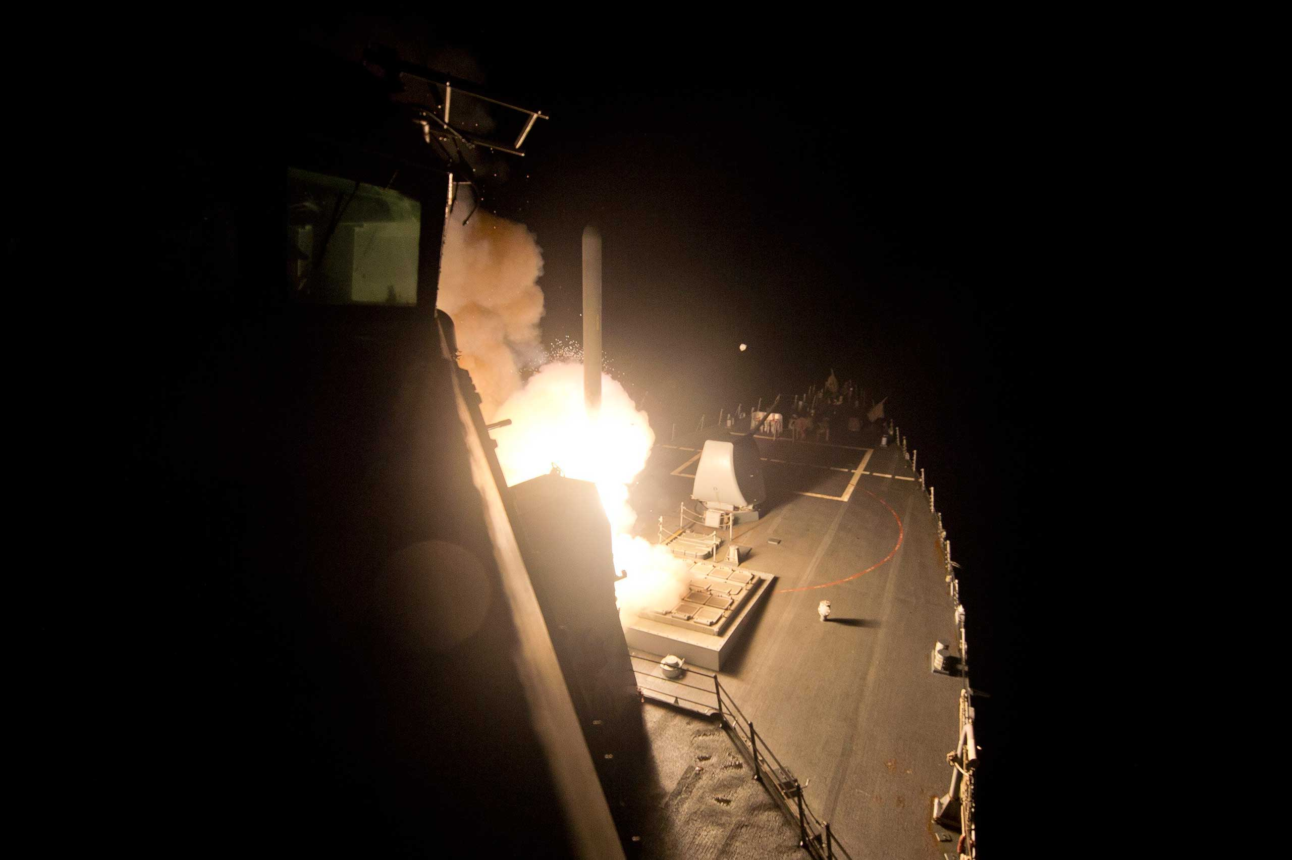 Sept. 23, 2014. A Tomahawk cruise missile is launched against ISIL targets from the US Navy guided-missile destroyer USS Arleigh Burke, in the Red Sea.