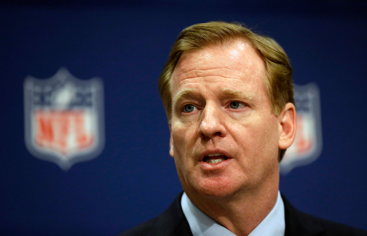 NFL Commissioner Roger Goodell speaks at a press conference at the NFL's spring meeting in Atlanta on May 20, 2014.