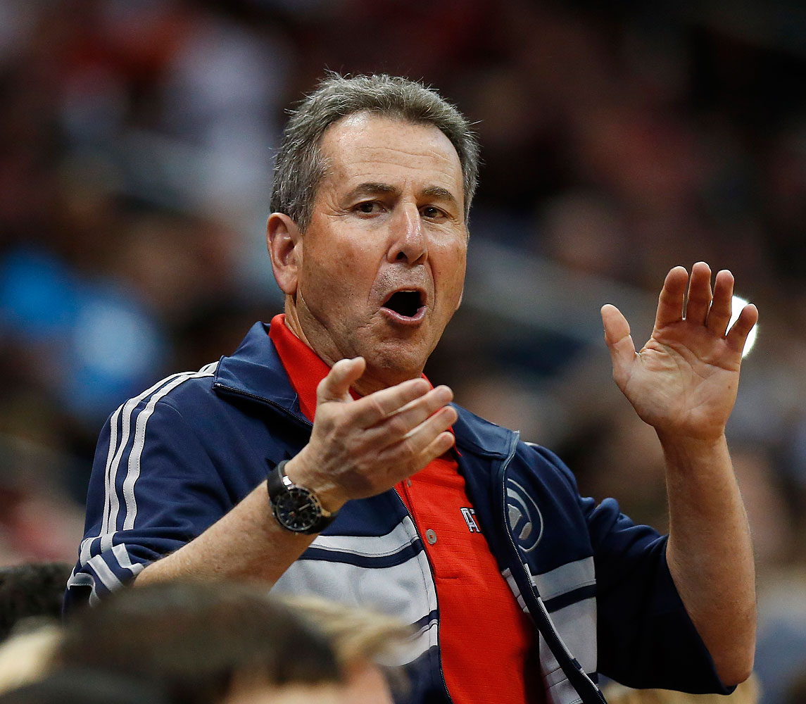 Atlanta Hawks co-owner Bruce Levenson cheers from the stands in the second half of Game 4 of an NBA basketball first-round playoff series against the Indiana Pacers in Atlanta, April 26, 2014.