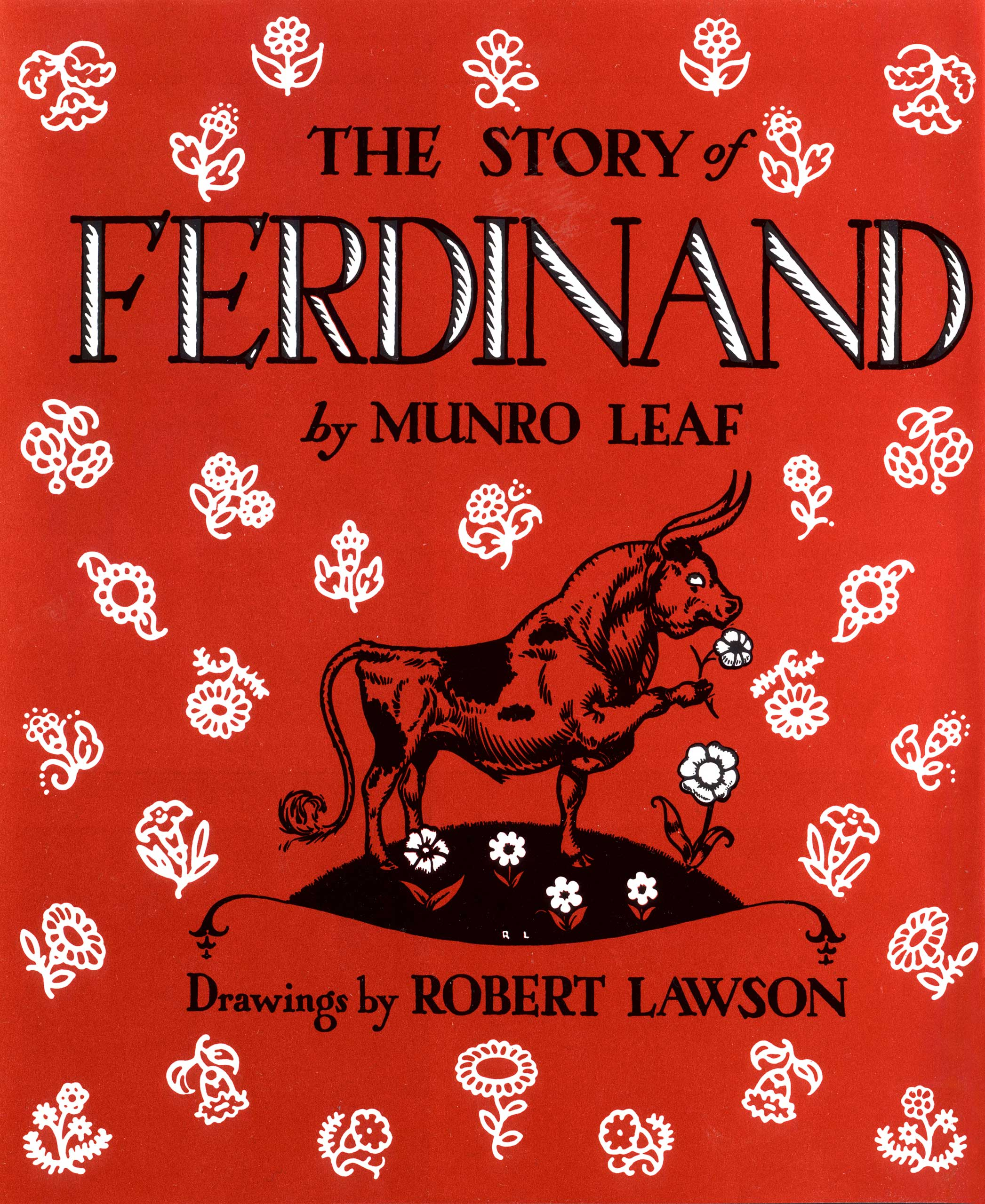 The Story of Ferdinand, by Munro Leaf, illustrations by Robert Lawson.                                                                                                                            Contrary to the stereotype of his species, Ferdinand is a calm, peaceful bull who likes to relax under the cork tree.                                                                                                                            Buy now: The Story of Ferdinand