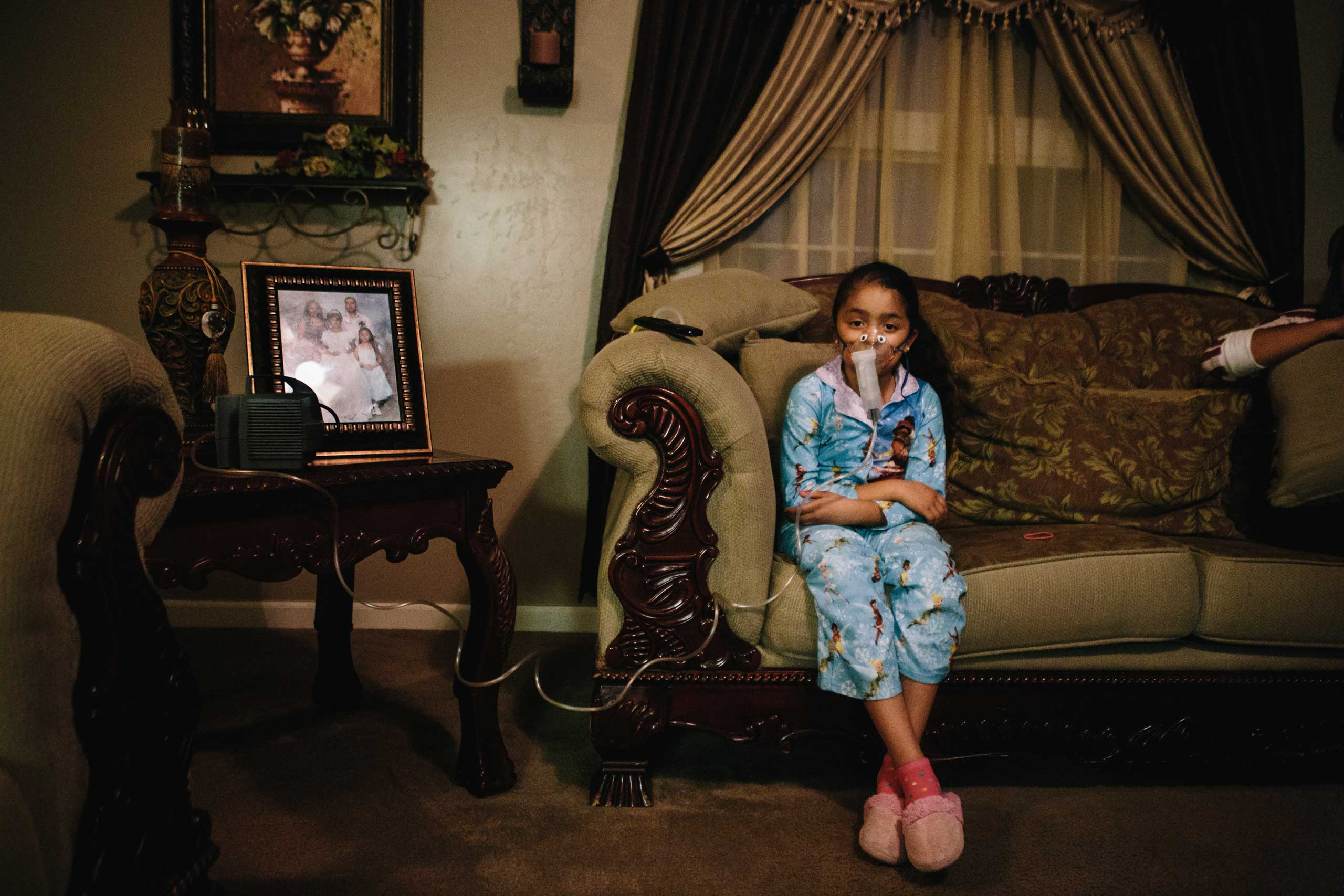 Yareli Gonzalez, 7, suffers from asthma and receives two nebulizer treatments per day, indefinitely. Gonzalez lives in Shafter, a rural farming town in Kern County, Calif. Kern County sits at the southern end of the San Joaquin Valley, an area known for having the worst air in the nation due to dust, smog and high levels of ozone.