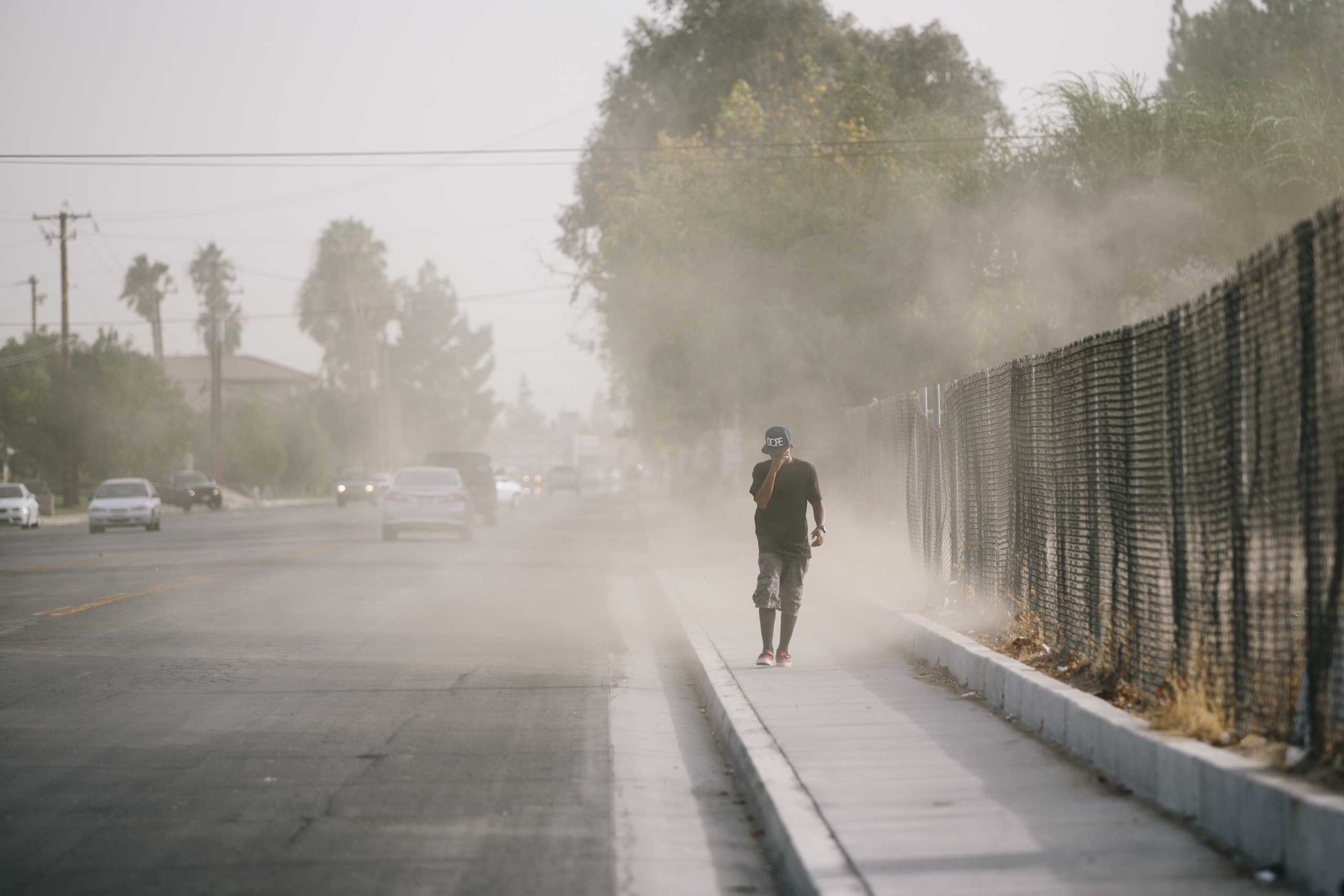 A dust storm blows through Bakersfield, Calif. Dust is a pervasive problem in the area.