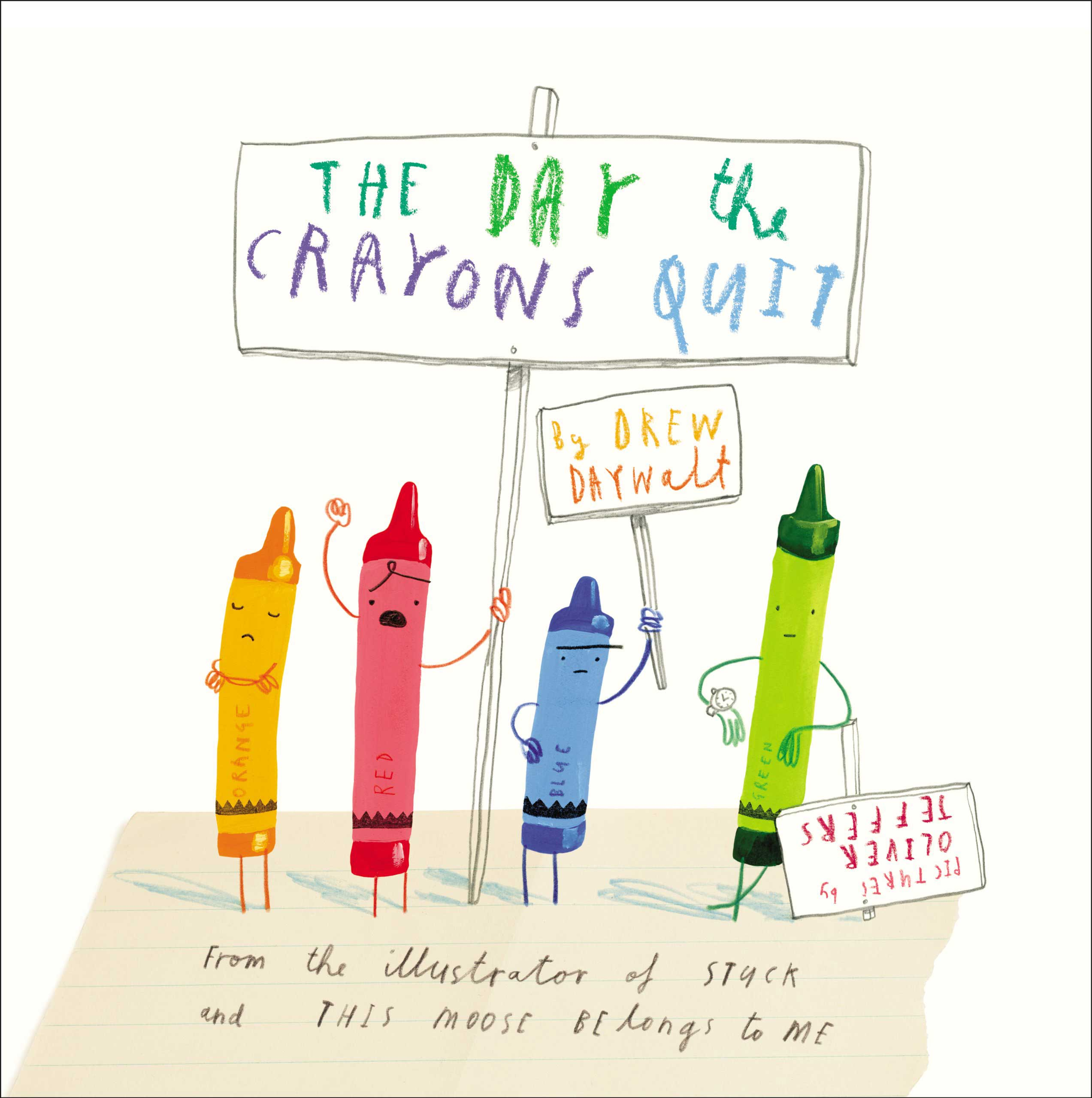 The Day the Crayons Quit, by Drew Daywalt, illustrations by Oliver Jeffers.                                                                                                                            All the crayons in Duncan's box go on strike, citing all kinds of hilarious grievances.                                                                                                                            Buy now: The Day the Crayons Quit
