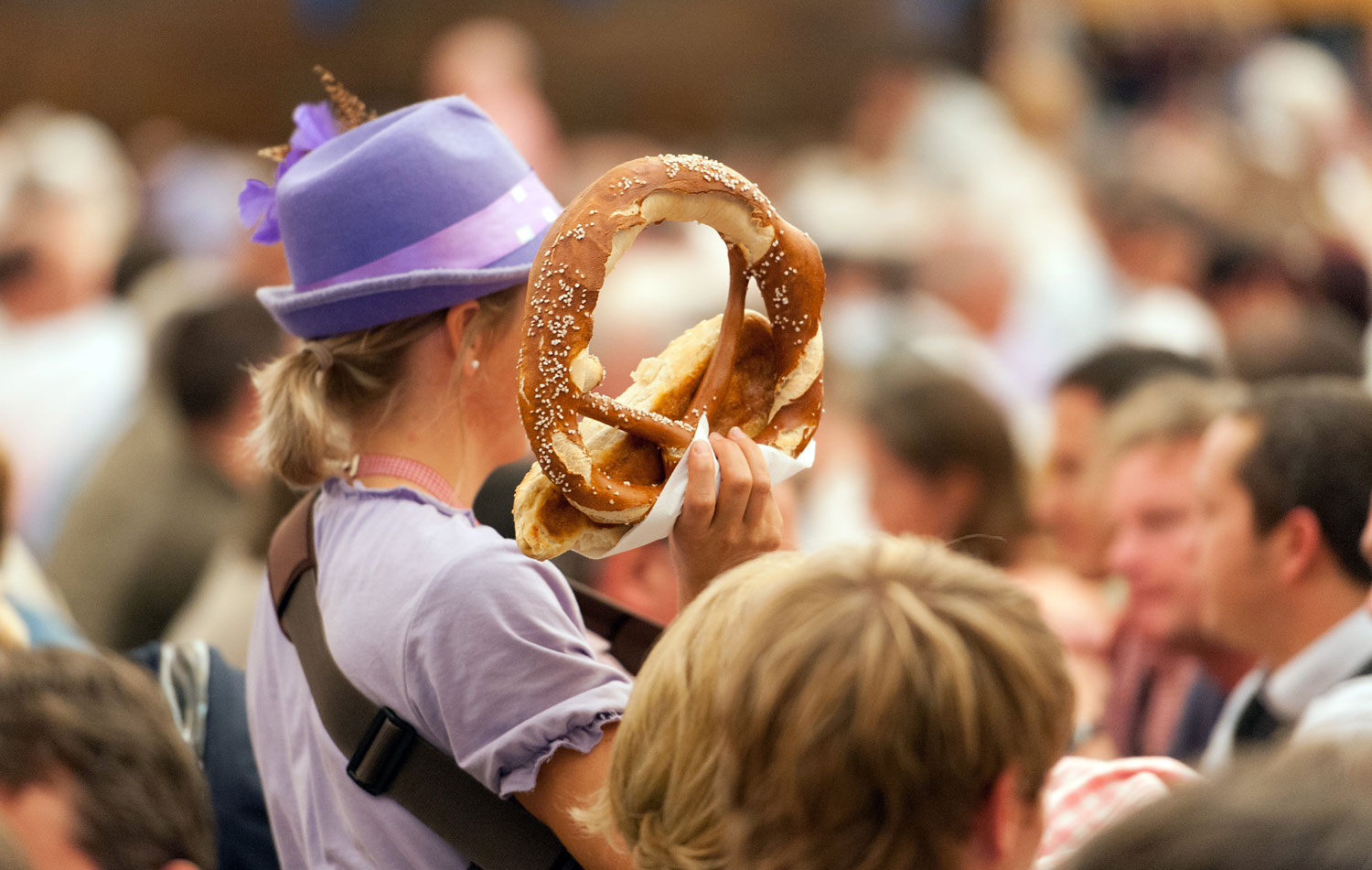 A pretzel seller in a beer tent at the Oktoberfest in Munich on Sept. 26, 2012