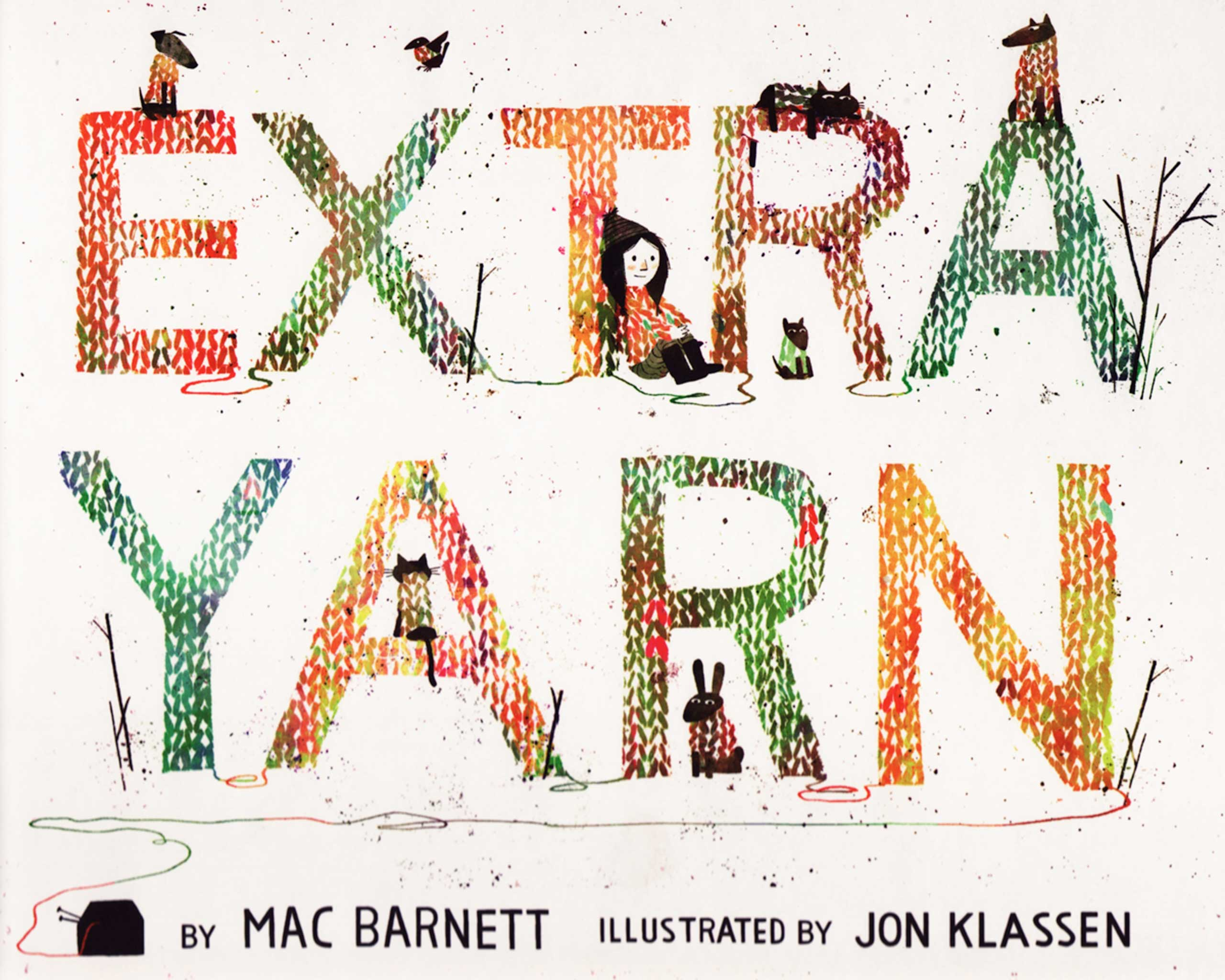 Extra Yarn, by Mac Barnett, illustrations by Jon Klassen.                                                                                                                            Annabelle and her box of yarn bring color to a colorless town.                                                                                                                            Buy now: Extra Yarn
