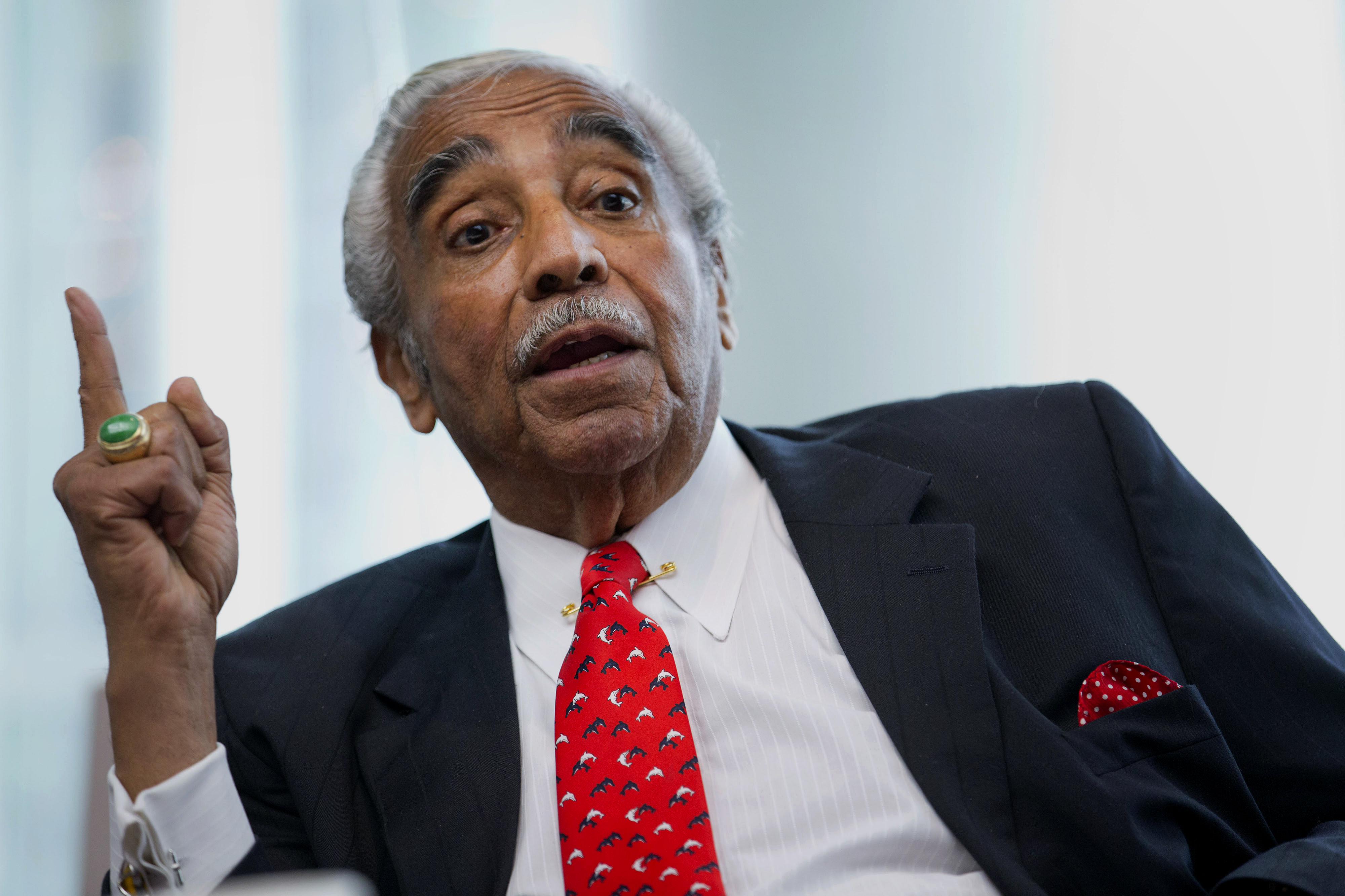 Representative Charles Rangel, a Democrat from New York, speaks during an interview in New York, U.S., on Friday, June 6, 2014.