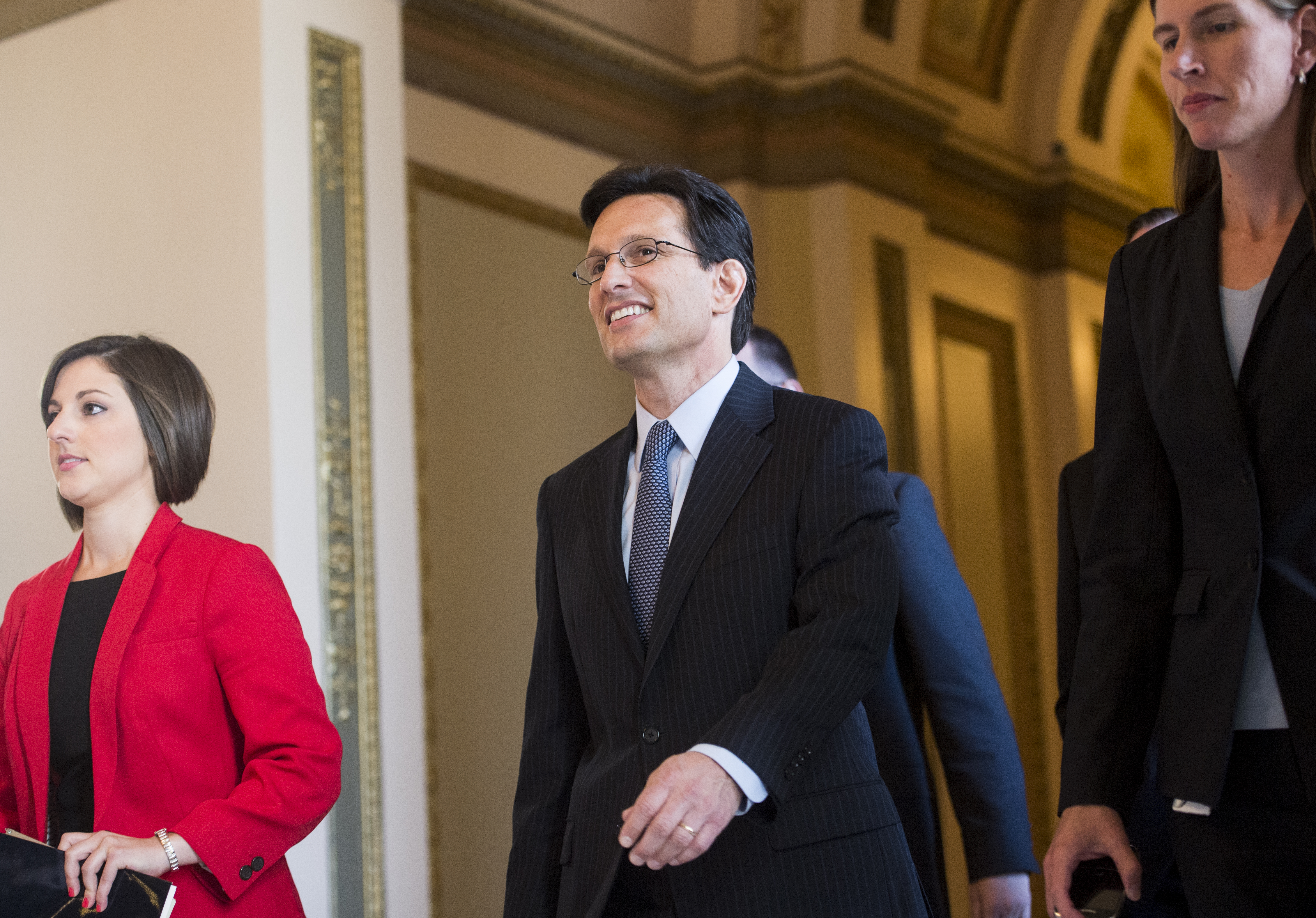 House Majority Leader Eric Cantor, R-Va., walks from the House floor after delivering his final speech as Majority Leader on Thursday, July 31, 2014.