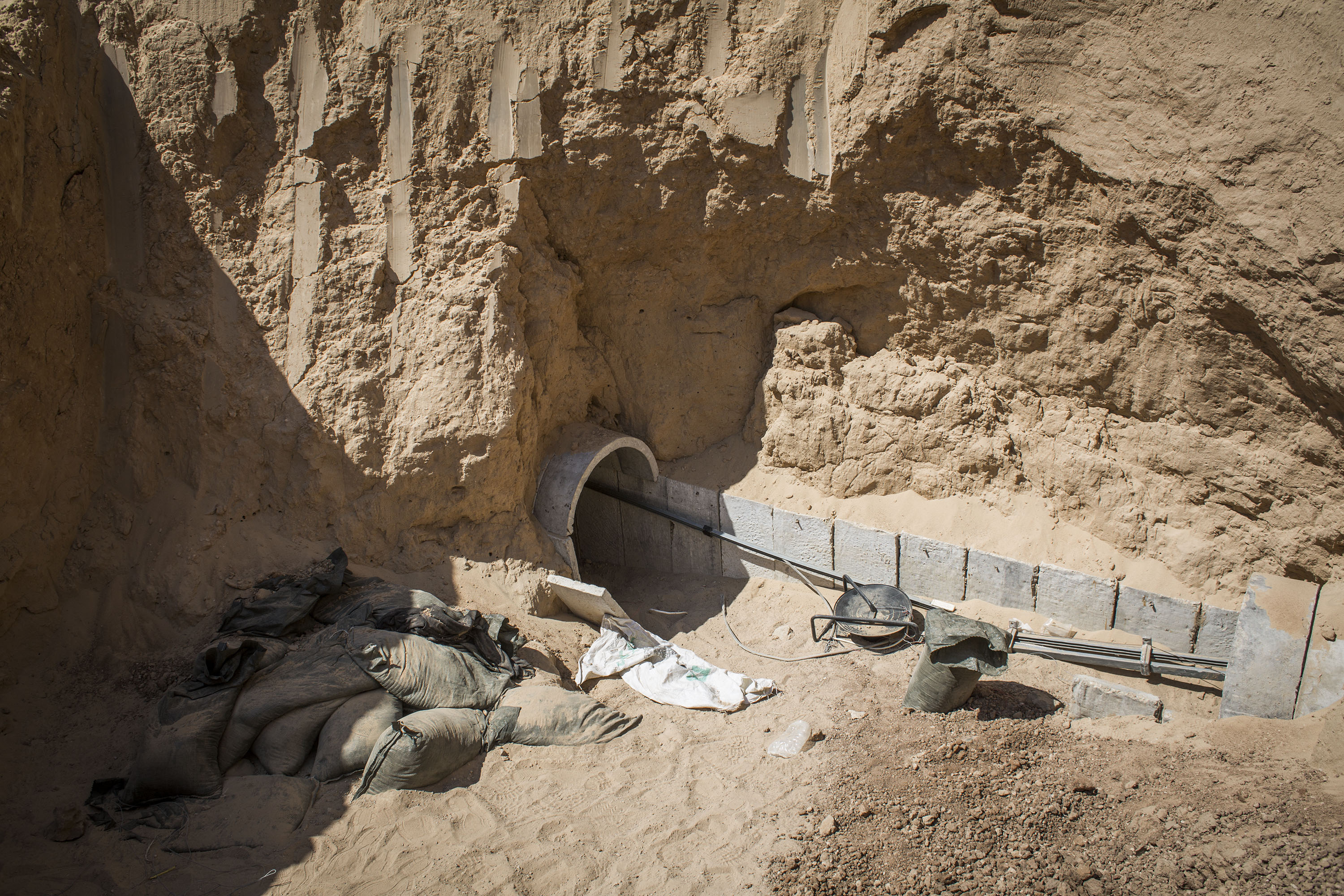 Overview of a tunnel built underground by Hamas militants leading from the Gaza Strip into Southern Israel, seen on August 4, 2014 near the Israeli Gaza border, Israel.