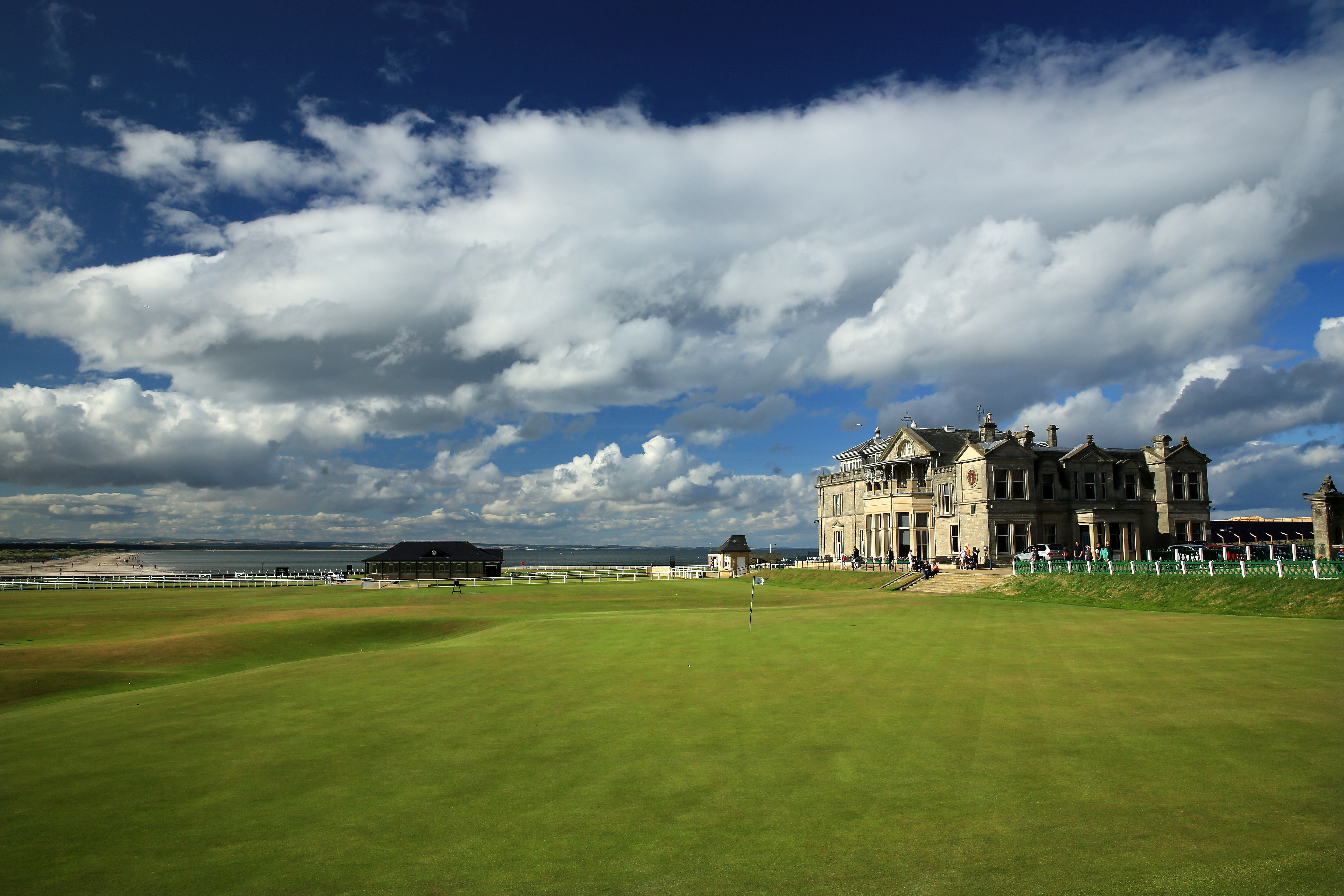 The clubhouse of the Royal and Ancient Golf Club of St Andrews, with the 18th green and the first tee on the Old Course at St Andrews venue for The Open Championship in 2015, on July 29, 2014 in St Andrews, Scotland