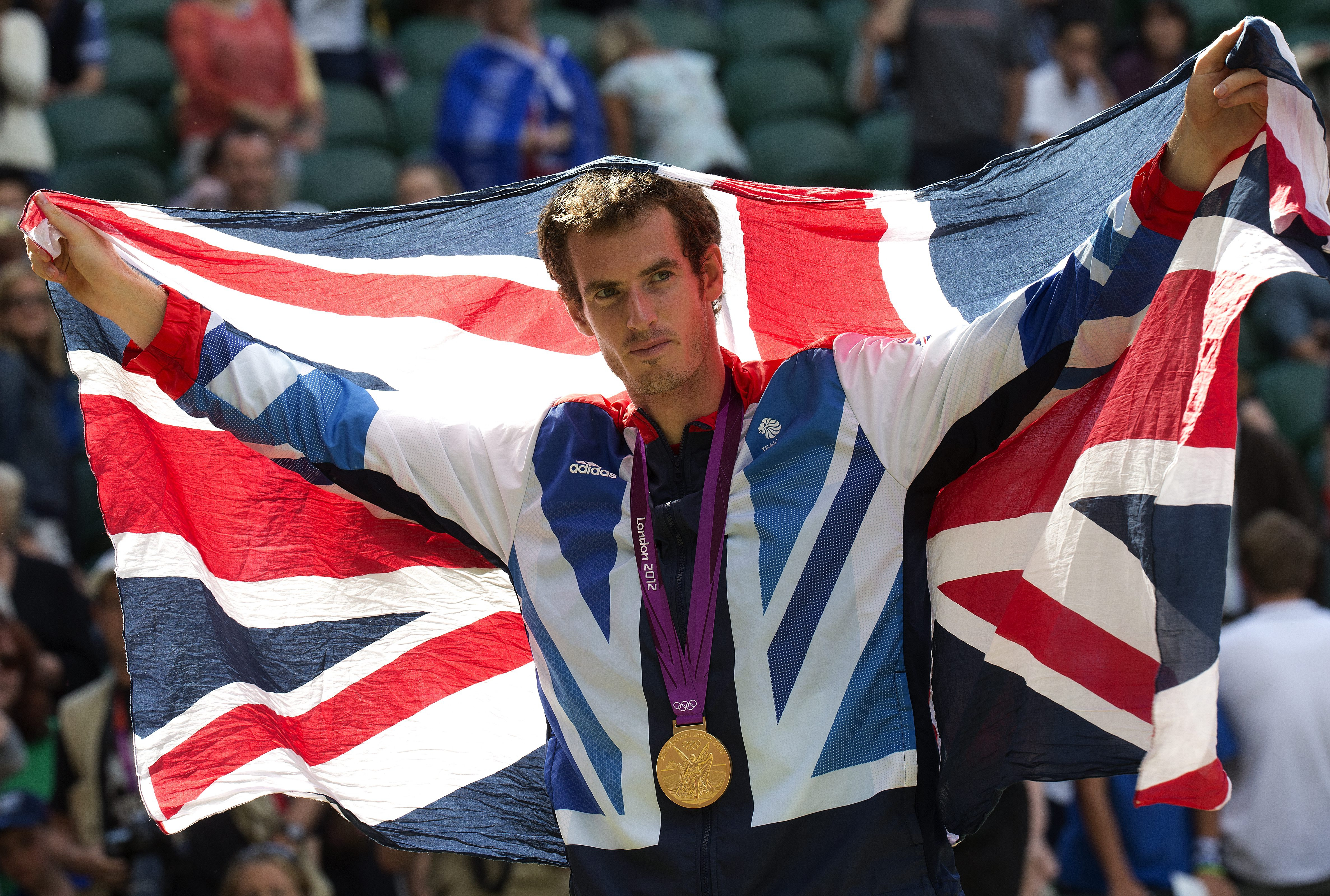 Gold medalist Andy Murray of Great Britain poses after the medal ceremony for the men's singles tennis match at the Olympic Games on Aug. 5, 2012, in London