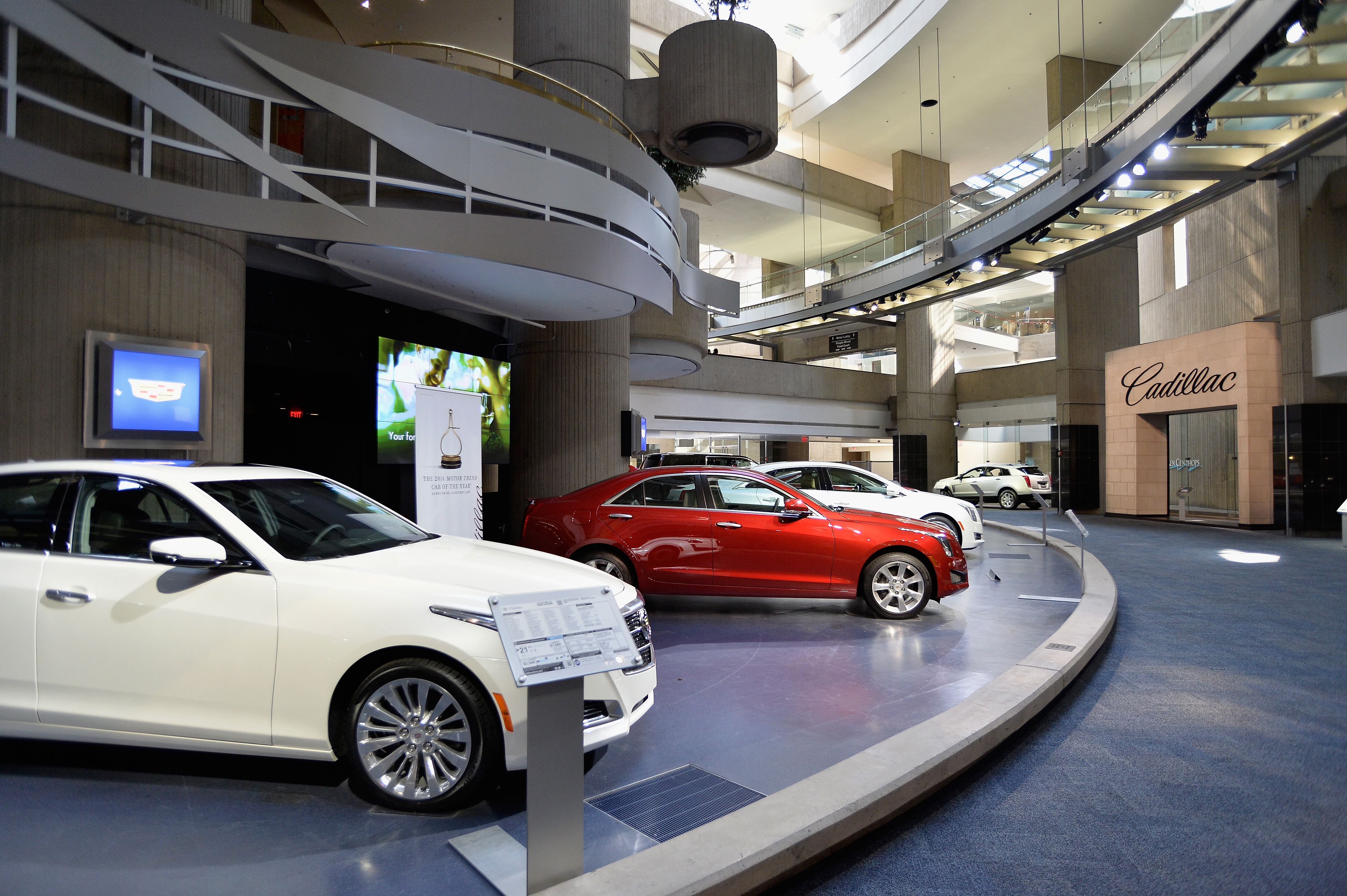 A general view of the Cadillac showroom in the General Motors Renaissance Center on August 14, 2014 in Detroit, Michigan.