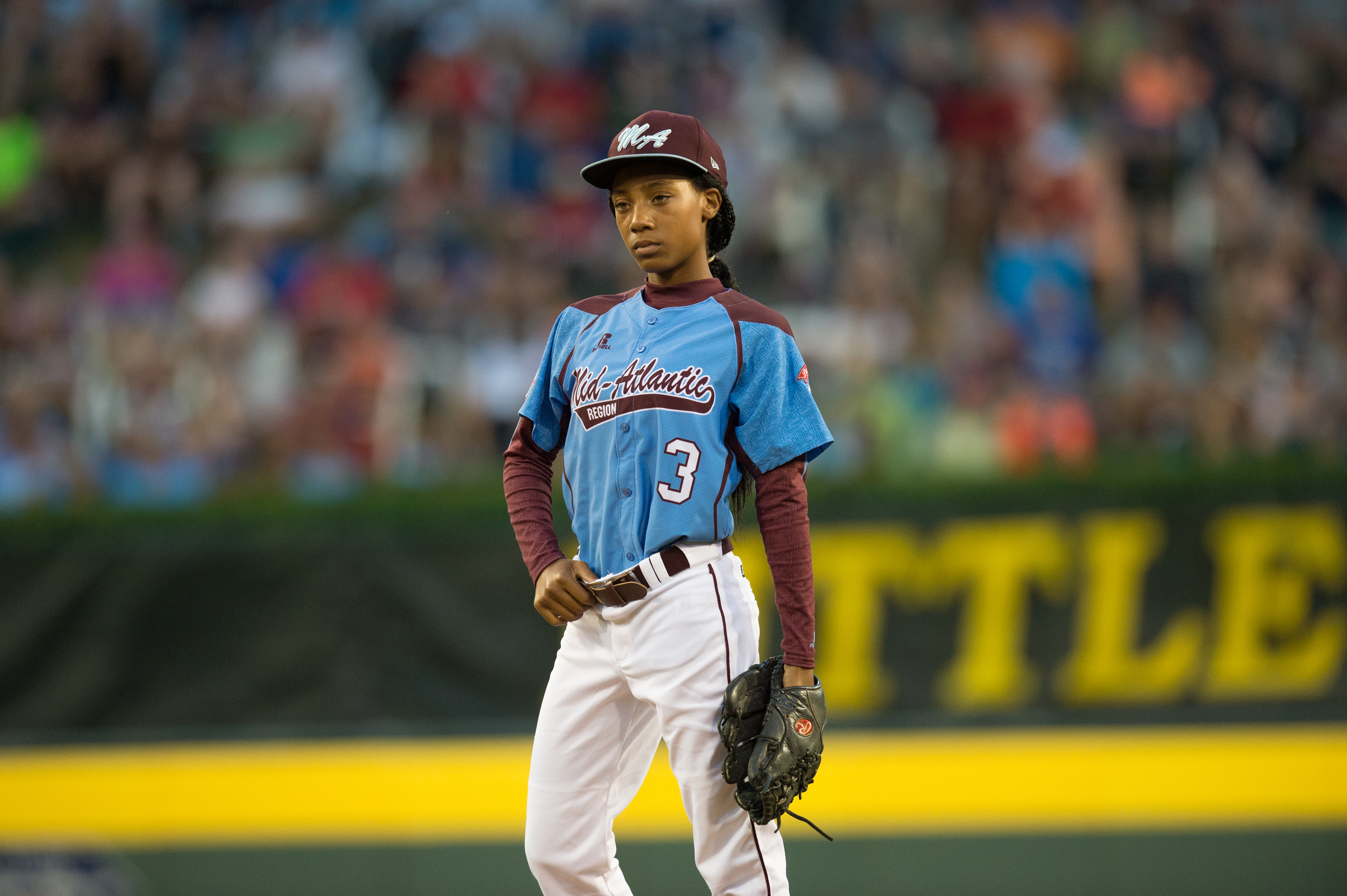 Starting pitcher Mo'ne Davis #3 of Pennsylvania pitches during the 2014 Little League World Series at Lamade Stadium on Aug. 20, 2014 in Williamsport, Penn.