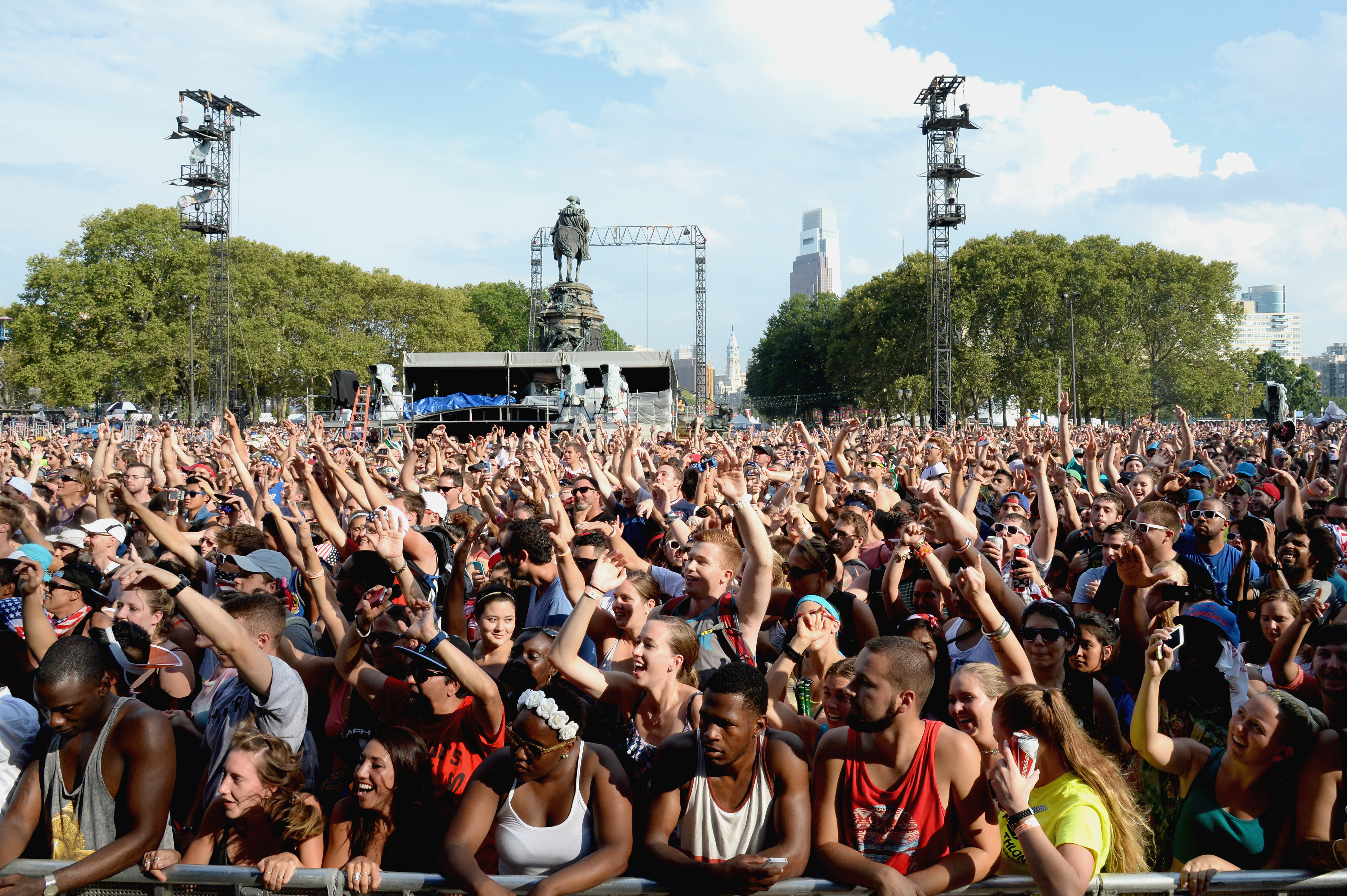 A general view of atmosphere at the 2014 Budweiser Made In America Festival at Benjamin Franklin Parkway on August 30, 2014 in Philadelphia, Pennsylvania.
