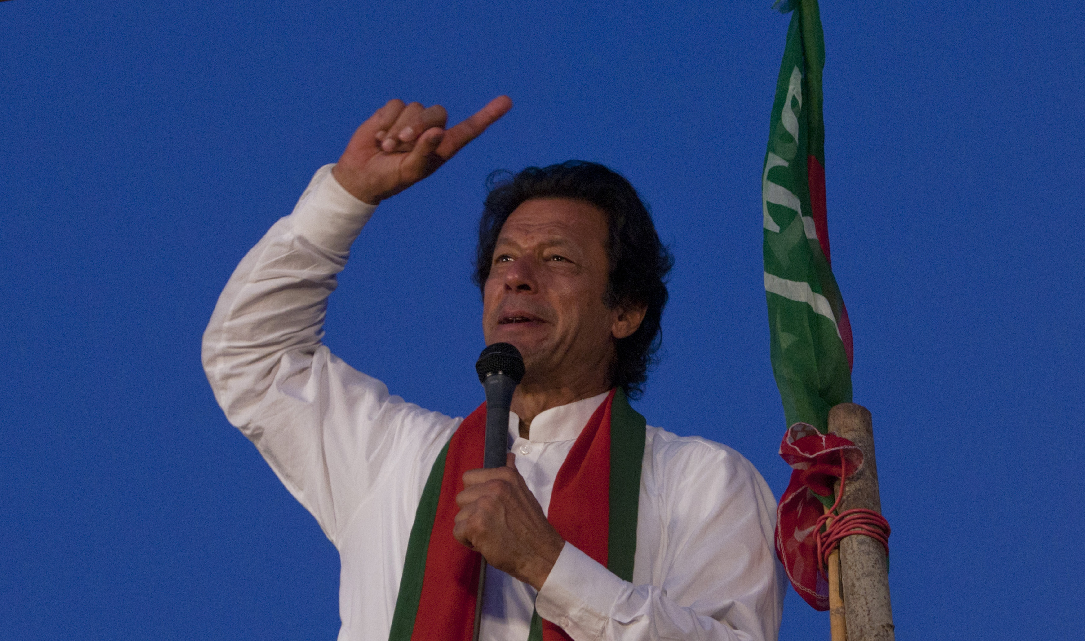 Pakistani cricketer turned politician Imran Khan, leader of the Pakistan Tehreek-e-Insaf party, addresses his supporters during antigovernment protests near the Prime Minister's residence in Islamabad on Sept. 2, 2014