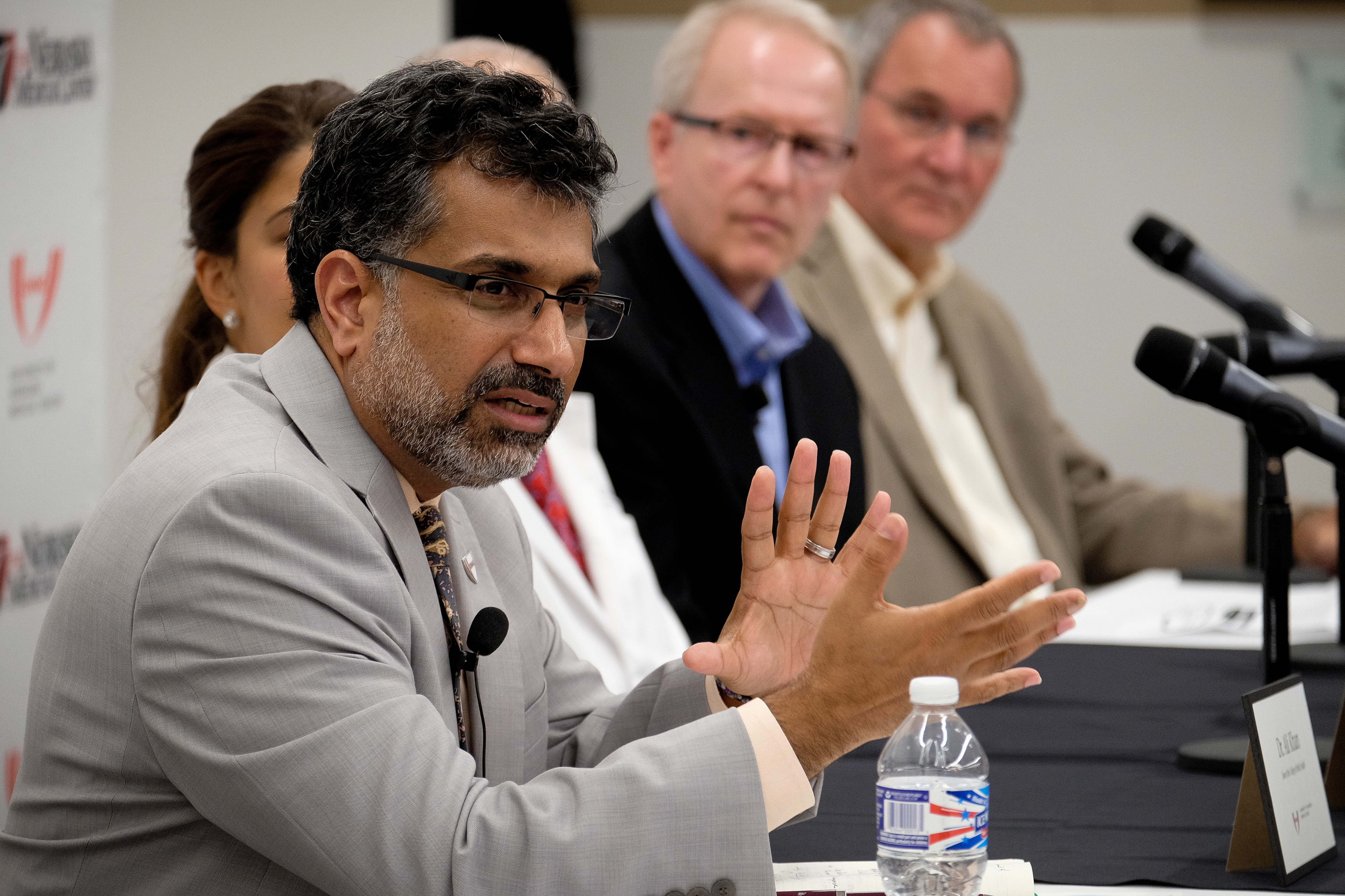 Ali S. Khan M.D. speaks to members of the media at the University of Nebraska Medical Center about the arrival of ebola patient Rick Sacra.
