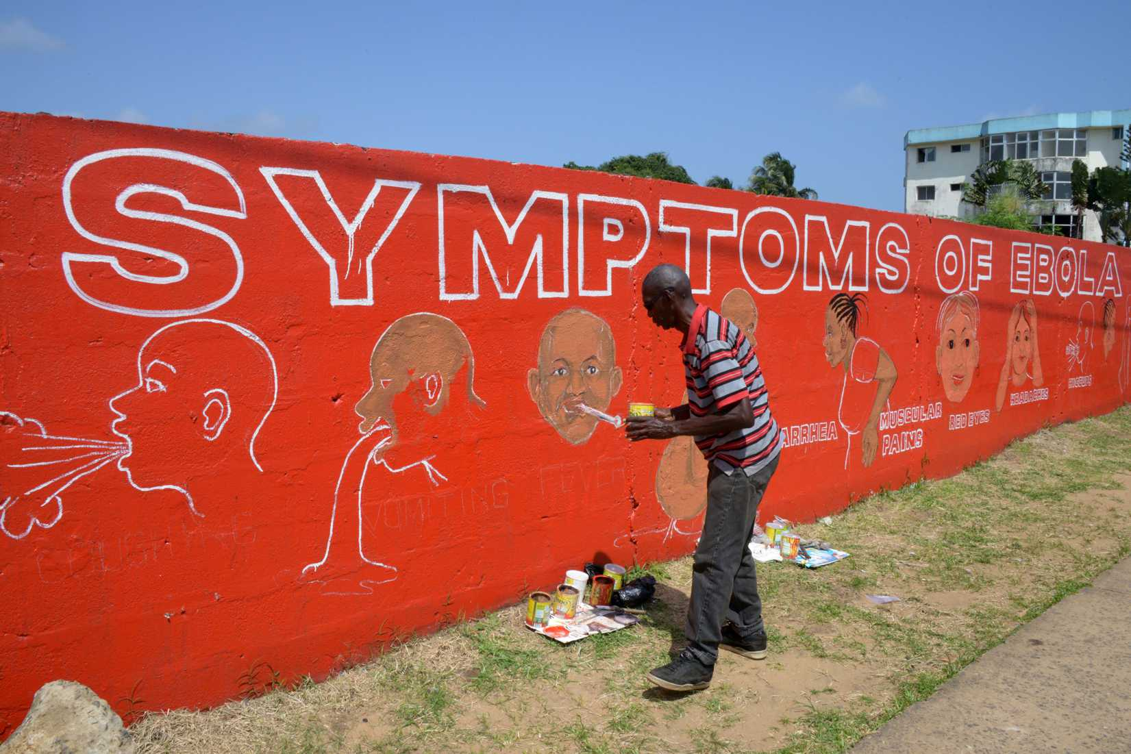 A street artist, Stephen Doe, paints an educational mural to inform people about the symptoms of the deadly Ebola virus in the Liberian capital, Monrovia, on Sept. 8, 2014