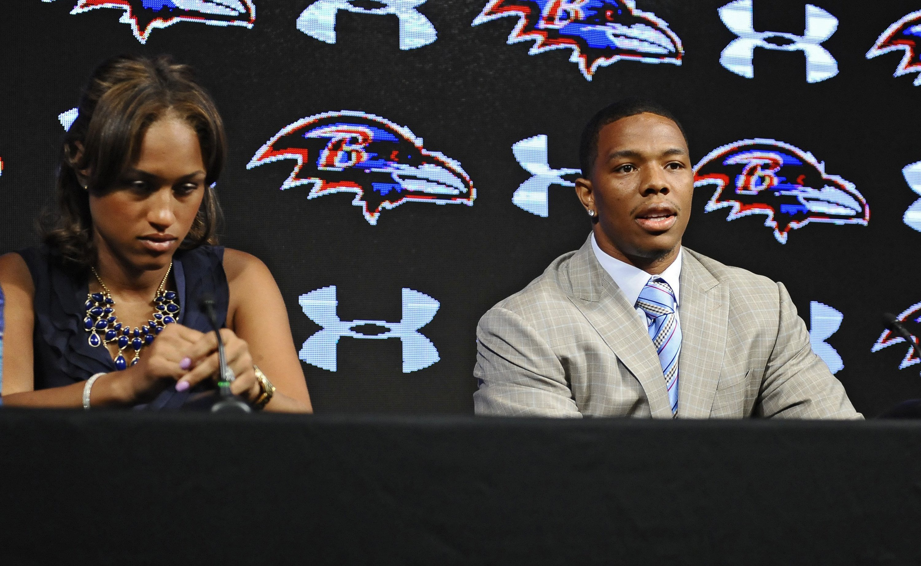 Ravens running back Ray Rice, right, and his wife Janay made statements to the news media regarding his assault charge for knocking her unconscious in a New Jersey casino, on May 5, 2014, at the Under Armour Performance Center in Owings Mills, Md.