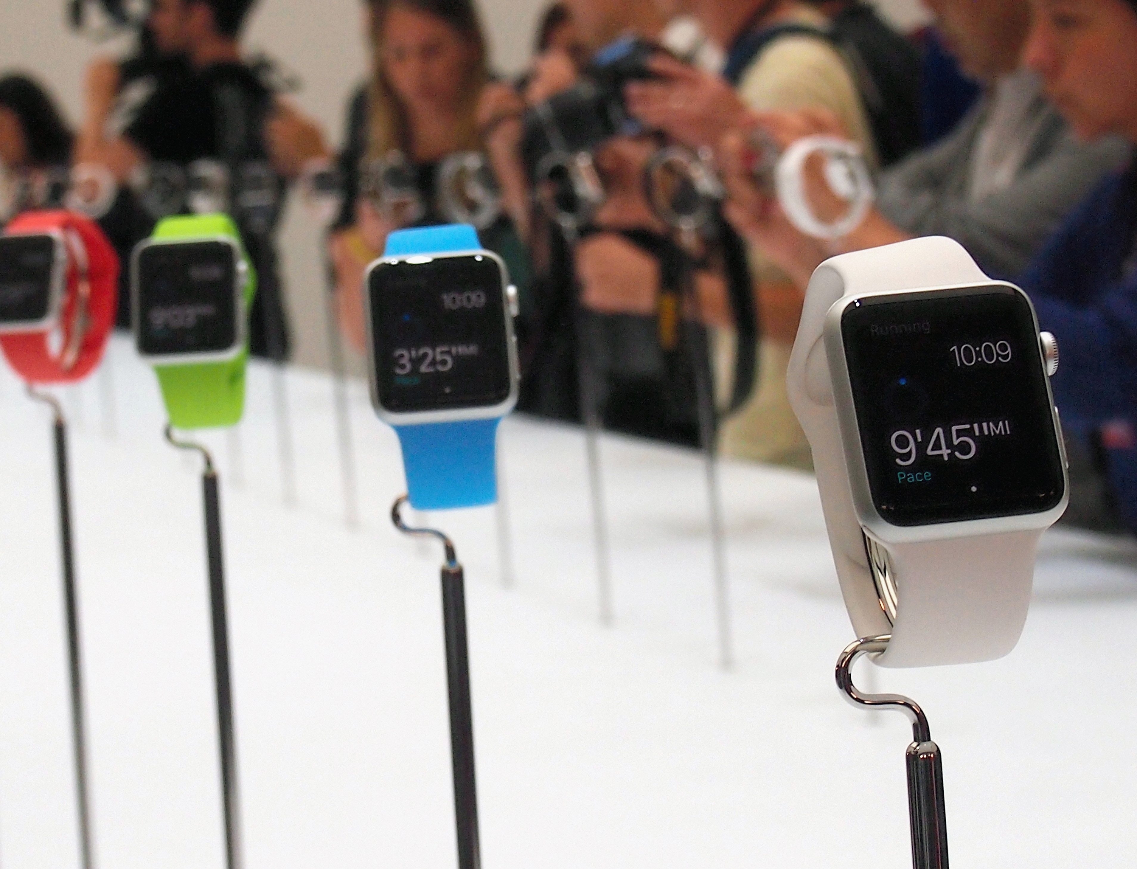 Apple Watch are displayed during an Apple special event at the Flint Center for the Performing Arts on September 9, 2014 in Cupertino, California.
