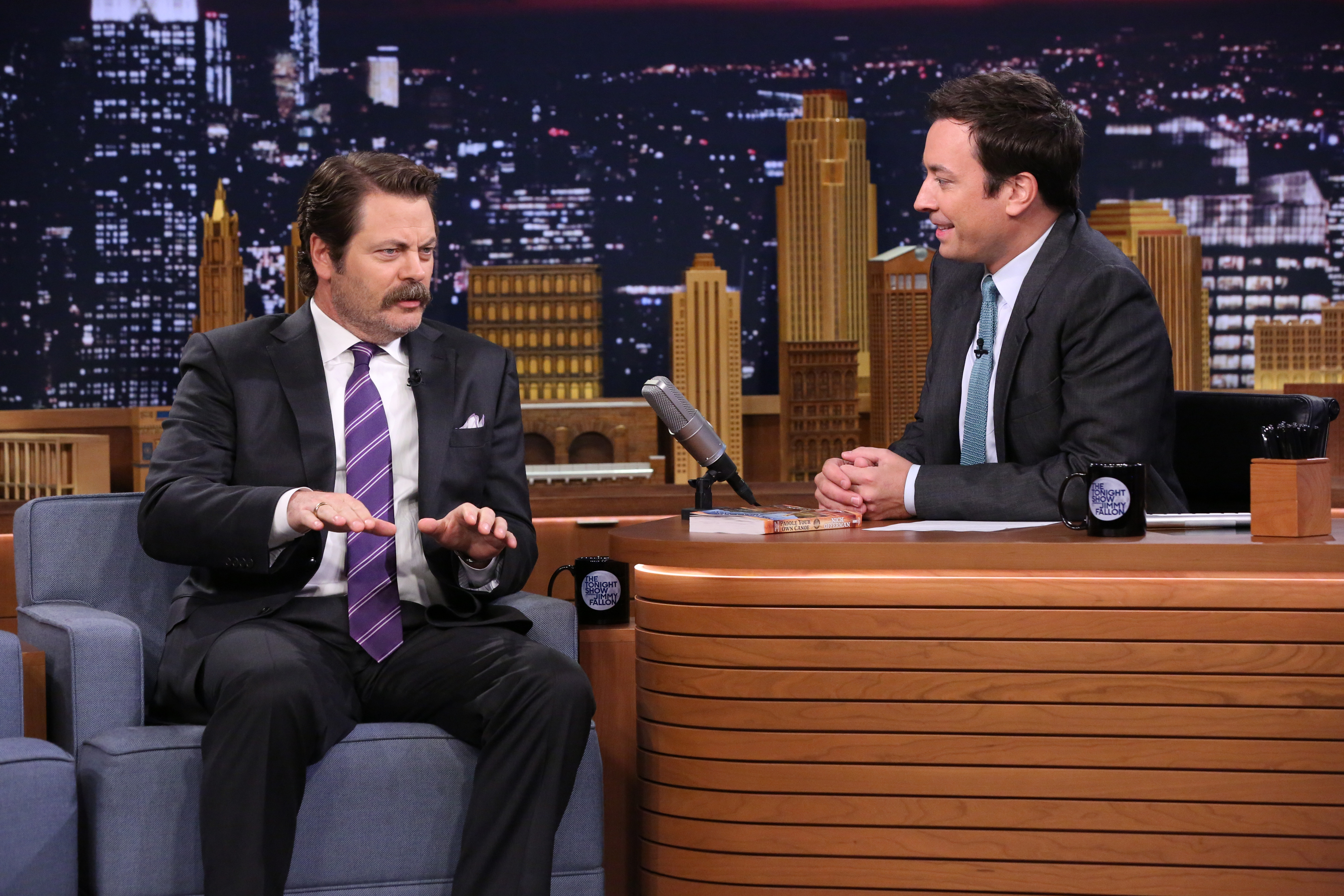 Actor Nick Offerman during an interview with host Jimmy Fallon on September 10, 2014.