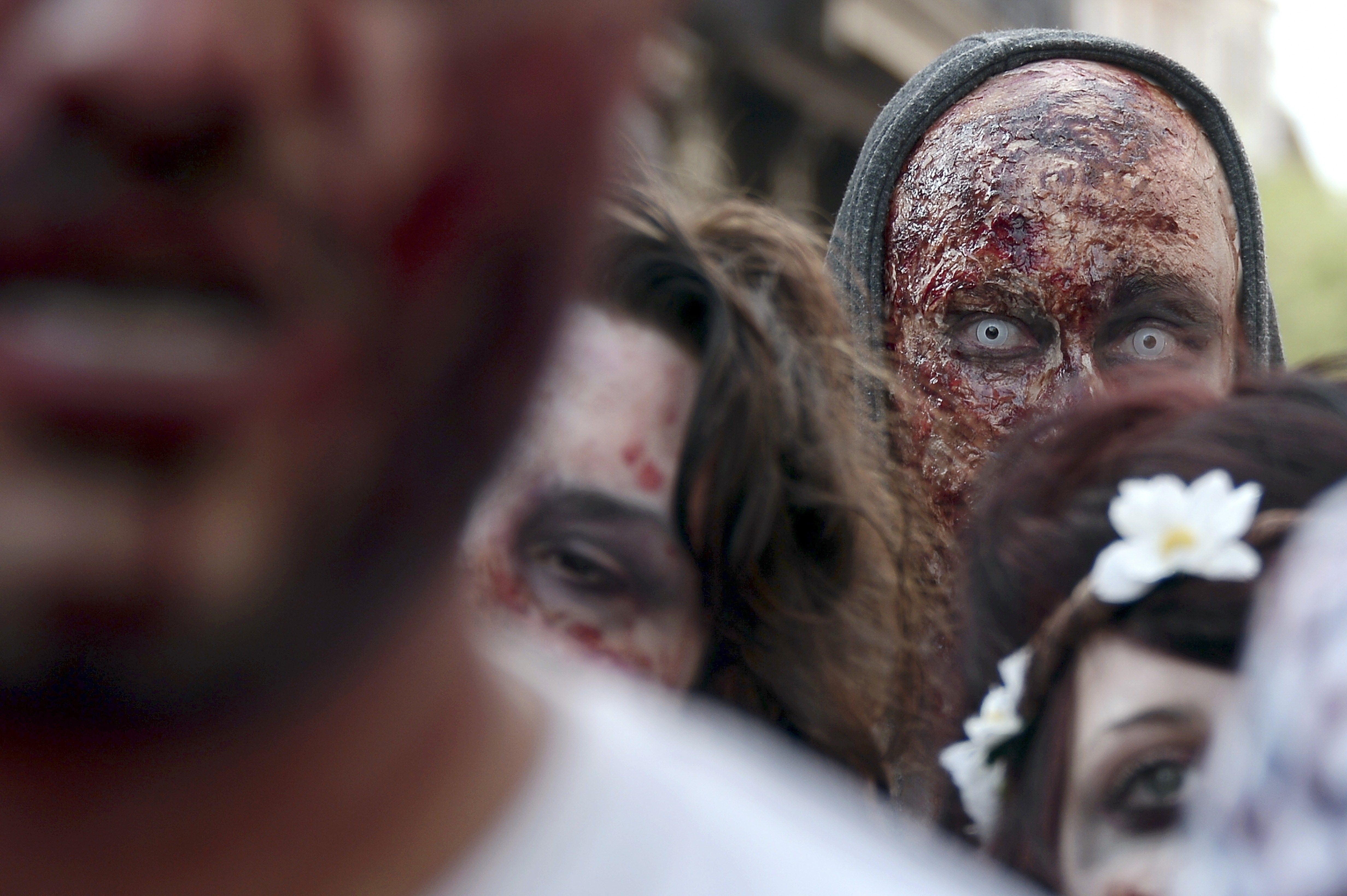People dressed as zombies take part in the Zombie Walk event on Sept. 13, 2014, in the eastern French city of Strasbourg