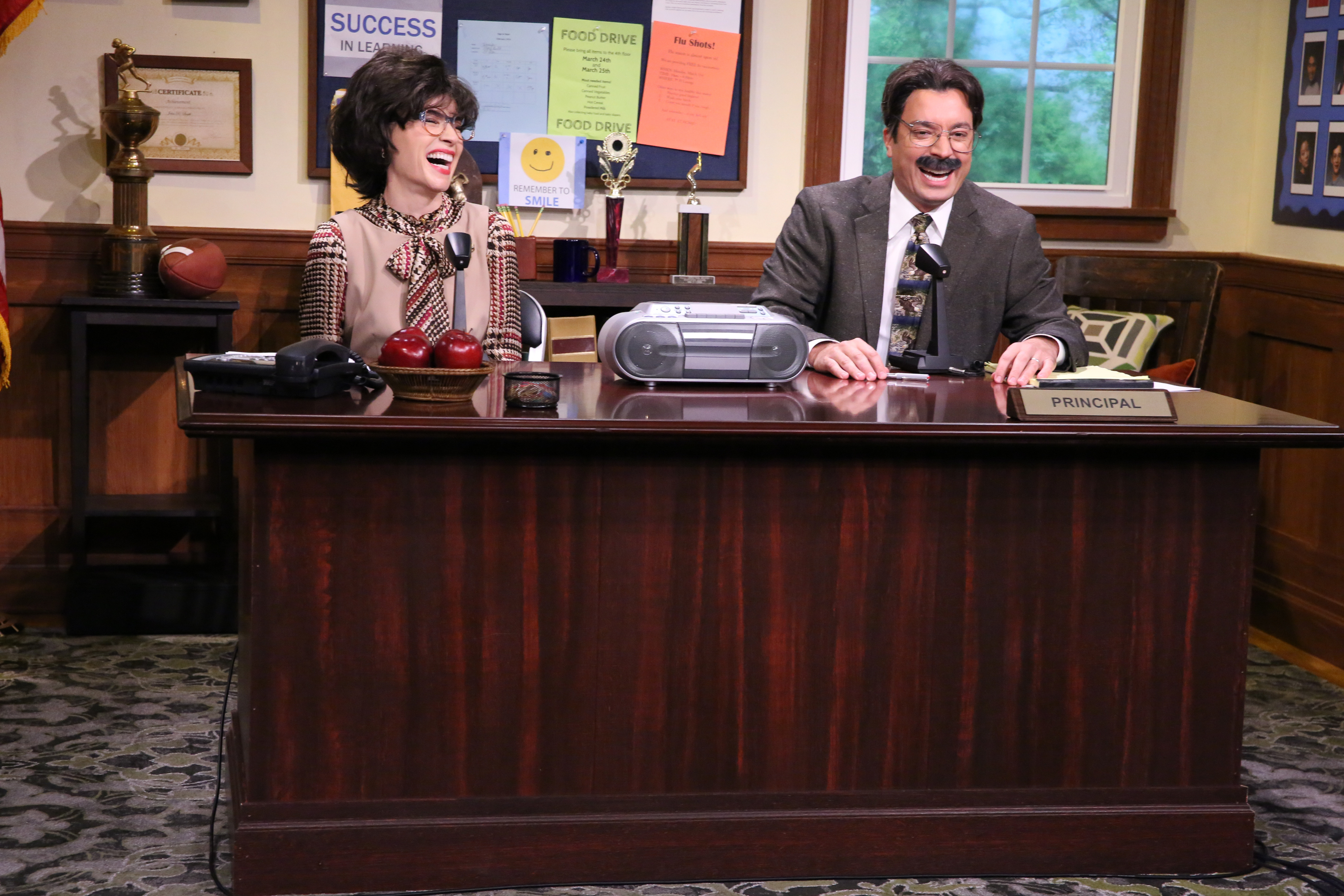 THE TONIGHT SHOW STARRING JIMMY FALLON -- Episode 0125 -- Pictured: (l-r) Actress Julianna Margulies and host Jimmy Fallon during the  Morning Announcements  skit on September 16, 2014 -- (Photo by: Douglas Gorenstein/NBC/NBCU Photo Bank via Getty Images)