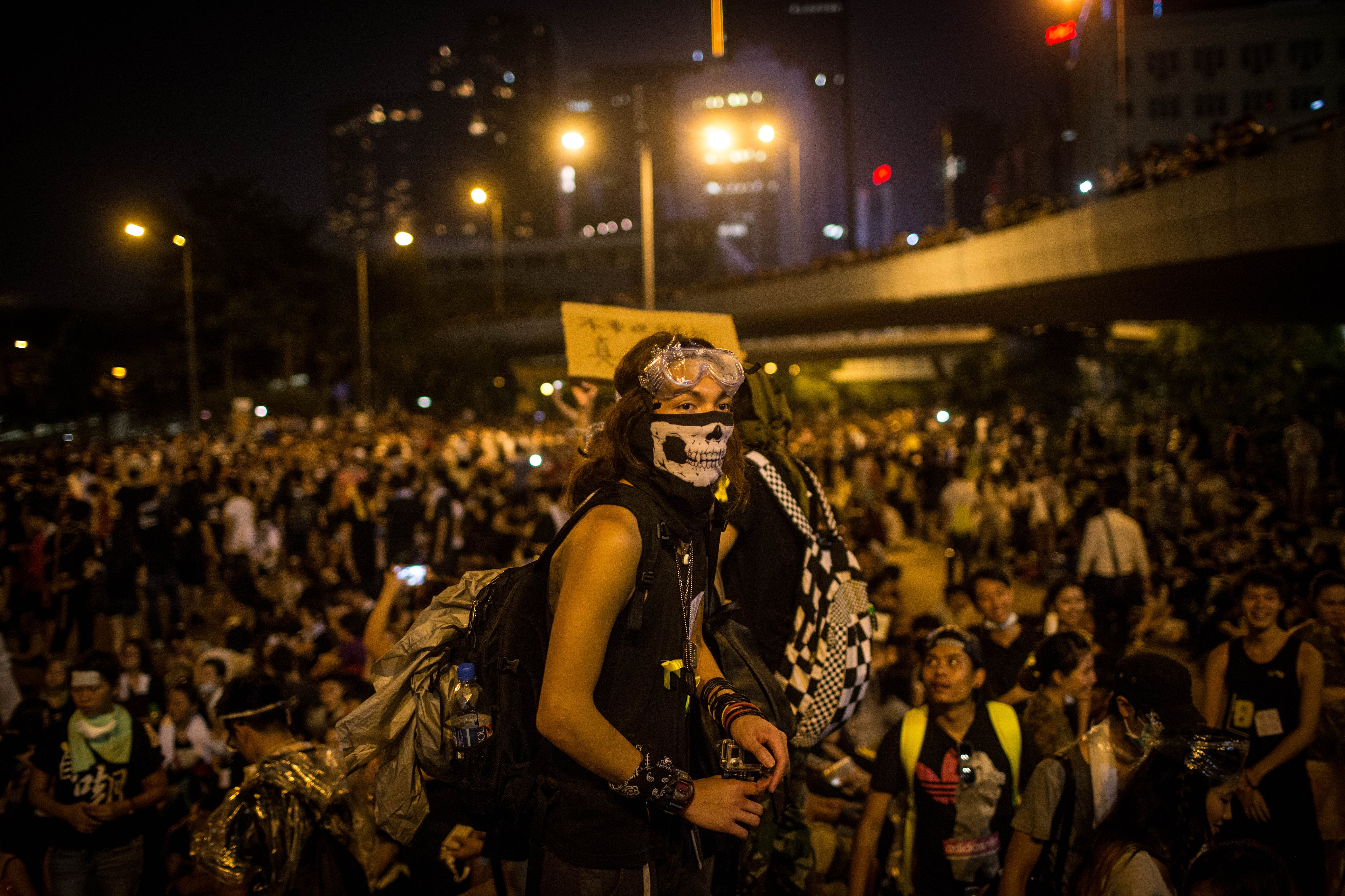 Protesters gather in the streets outside the Hong Kong government complex in Hong Kong on Sept. 29, 2014