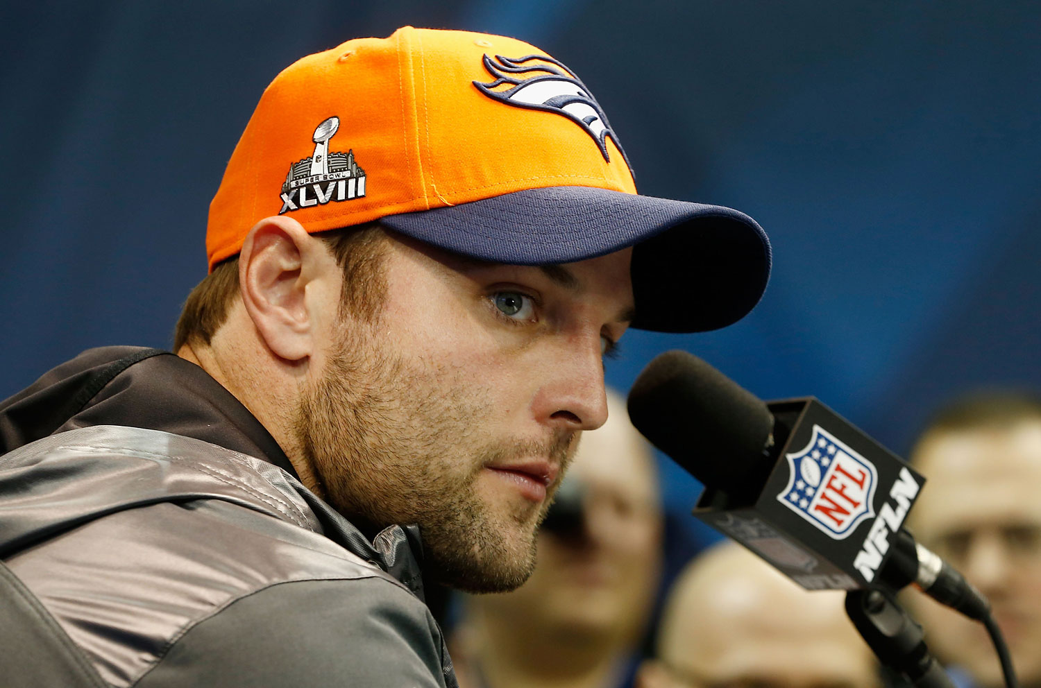 Wide receiver Wes Welker #83 of the Denver Broncos speaks to the media during Super Bowl XLVIII Media Day at the Prudential Center on Jan. 28, 2014 in Newark, New Jersey. Welker has been suspended for use of amphetamines.