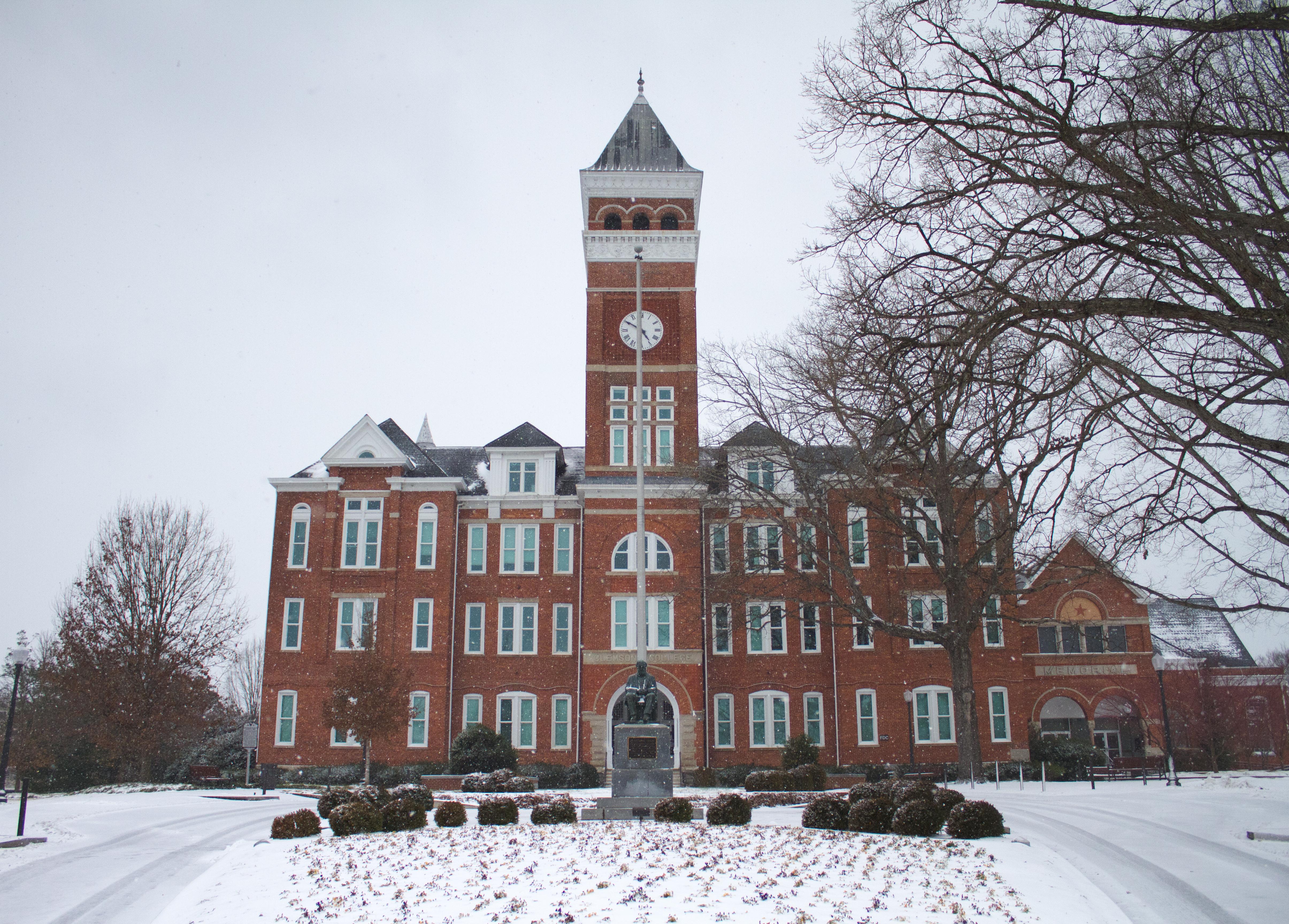 Clemson University Tillman Hall in winter during a rare snowfall February, 2014, Clemson, South Carolina.