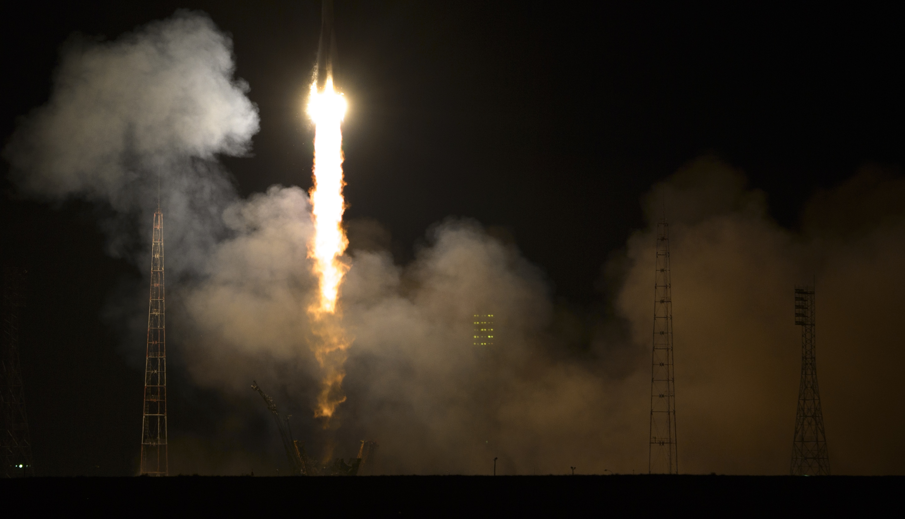 The Soyuz TMA-12M rocket launches to the International Space Station, March 26, 2014 at the Baikonur Cosmodrome in Kazakhstan.