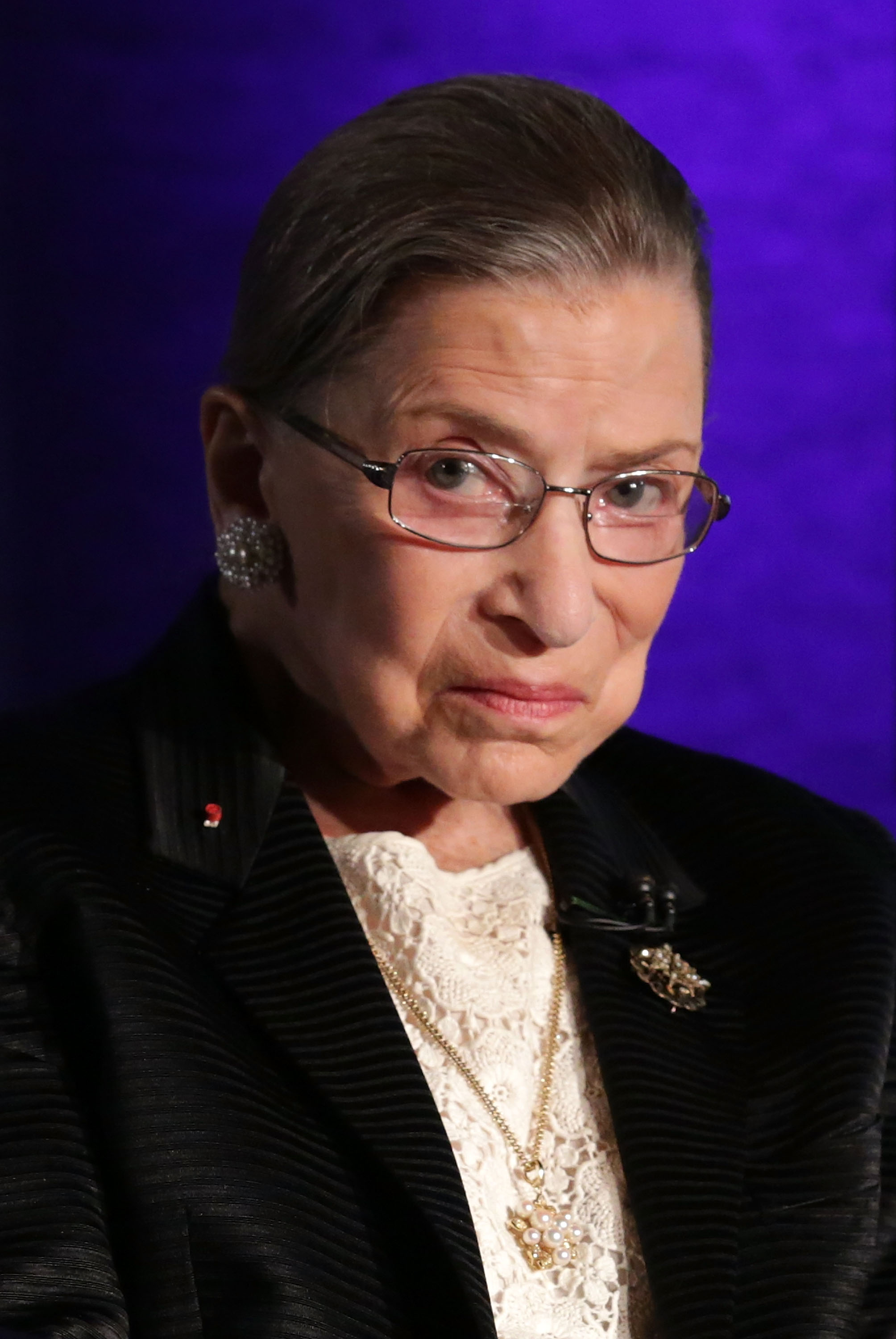 Supreme Court Justice Ruth Bader Ginsburg waits for the beginning of the taping of  The Kalb Report  April 17, 2014 at the National Press Club in Washington, DC.