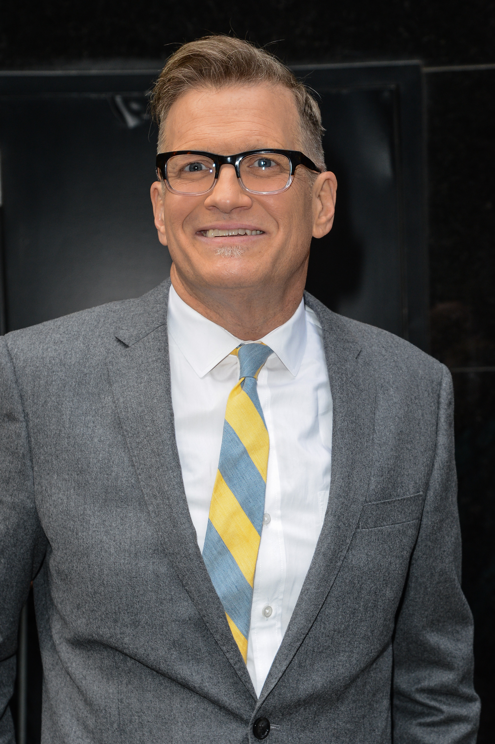 Actor Drew Carey leaves the  Good Morning America  taping at the ABC Times Square Studios on April 22, 2014 in New York City.