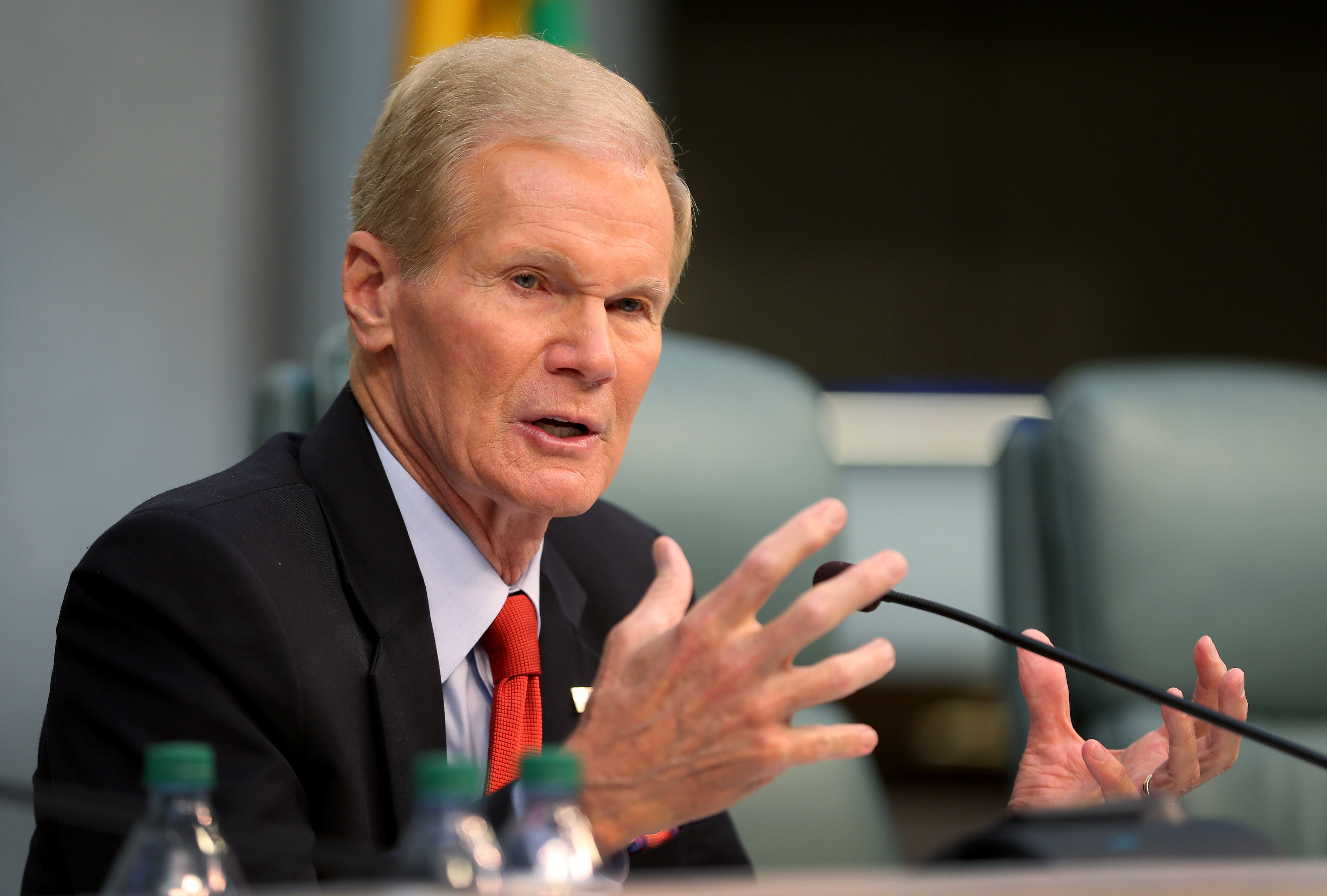 U.S. Sen. Bill Nelson (D-FL) speaks as he chairs a hearing entitled,  Leading the Way: Adapting to South Florida's Changing Coastline.  by the U.S. Senate Committee on Commerce, Science, and Transportation's Subcommittee on Science and Space at Miami Beach's City Hall on April 22, 2014 in Miami Beach, Florida.