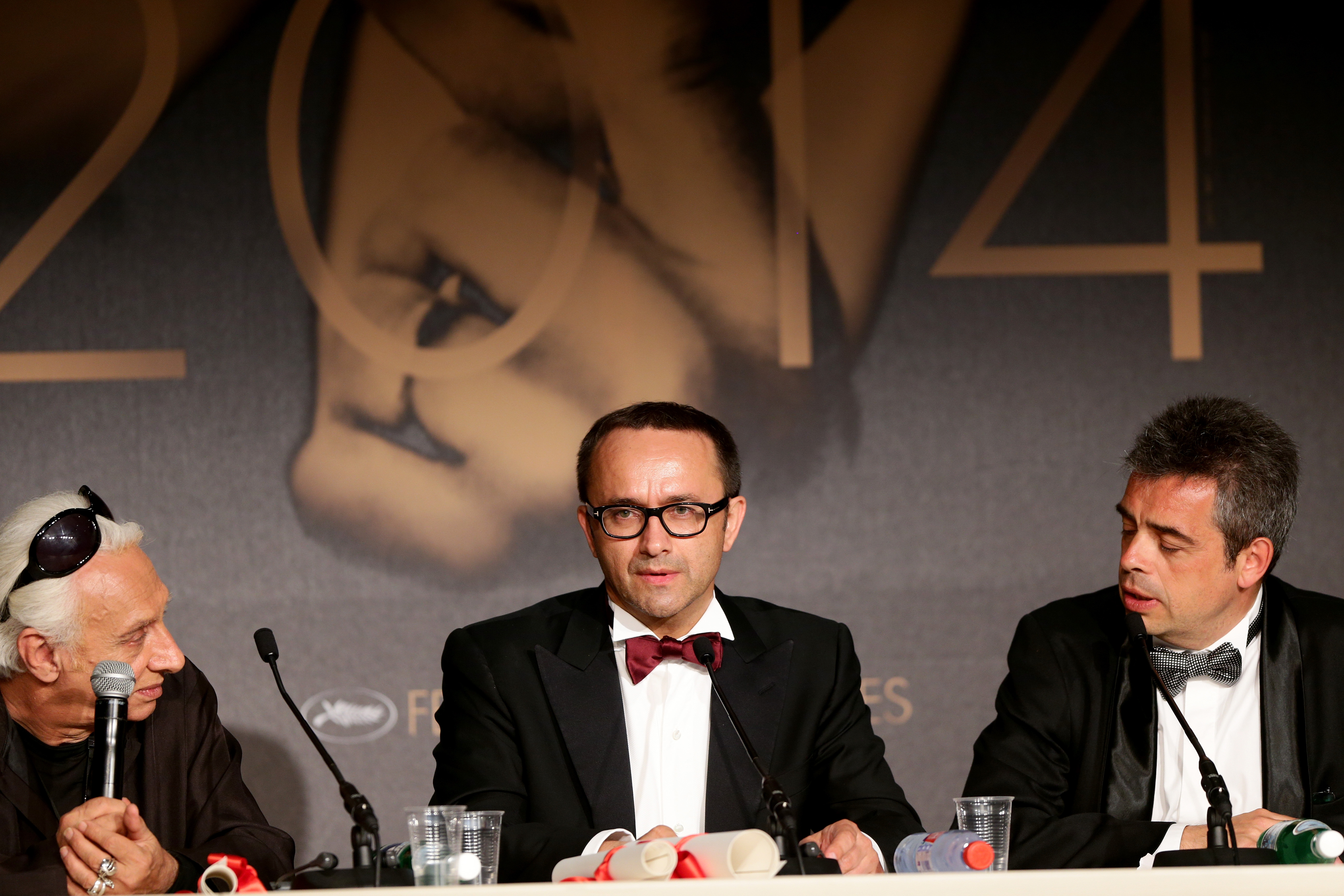 Russian director and screenwriter Andrey Zvyagintsev, center, winner of the best screenplay at the Cannes Film Festival for his film Leviathan, attends a press conference in Cannes, France, on May 24, 2014
