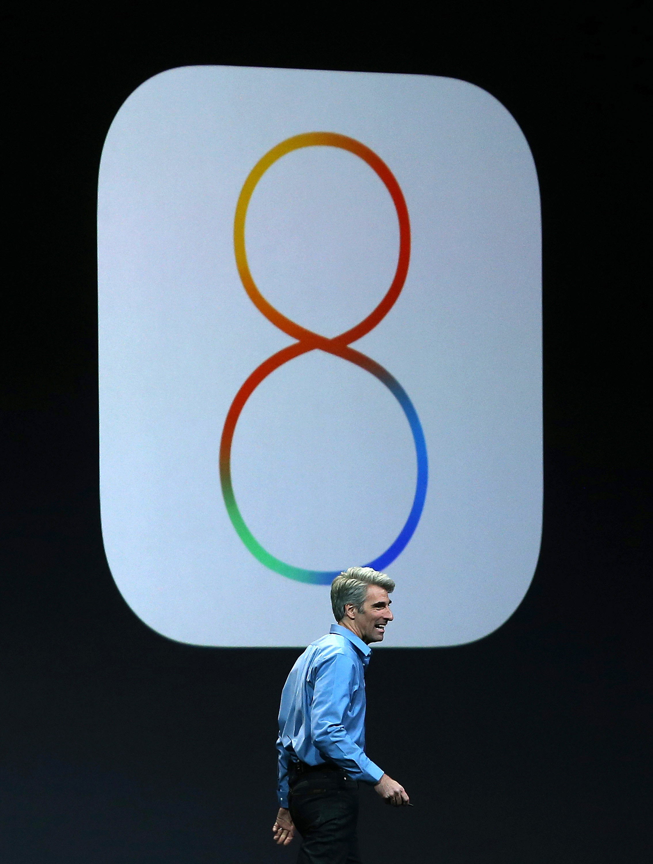 Apple Senior Vice President of Software Engineering Craig Federighi speaks during the Apple Worldwide Developers Conference at the Moscone West center on June 2, 2014 in San Francisco, California.