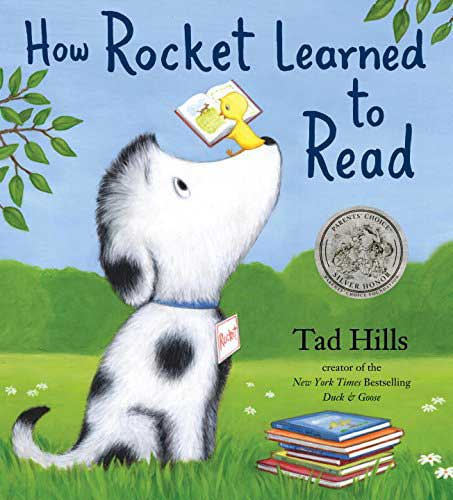 How Rocket Learned to Read, by Tad Hills.                                                                                                                            A sleepy dog's nap is interrupted by a bird who wants to teach him to read, and he soon learns to love it.                                                                                                                            Buy now: How Rocket Learned to Read