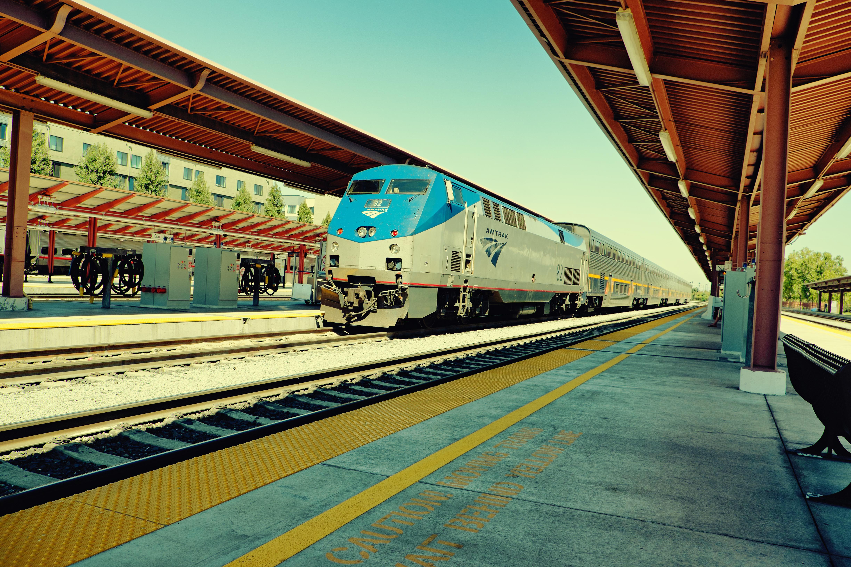 Amtrak train arriving at  San Jose Diridon Station.