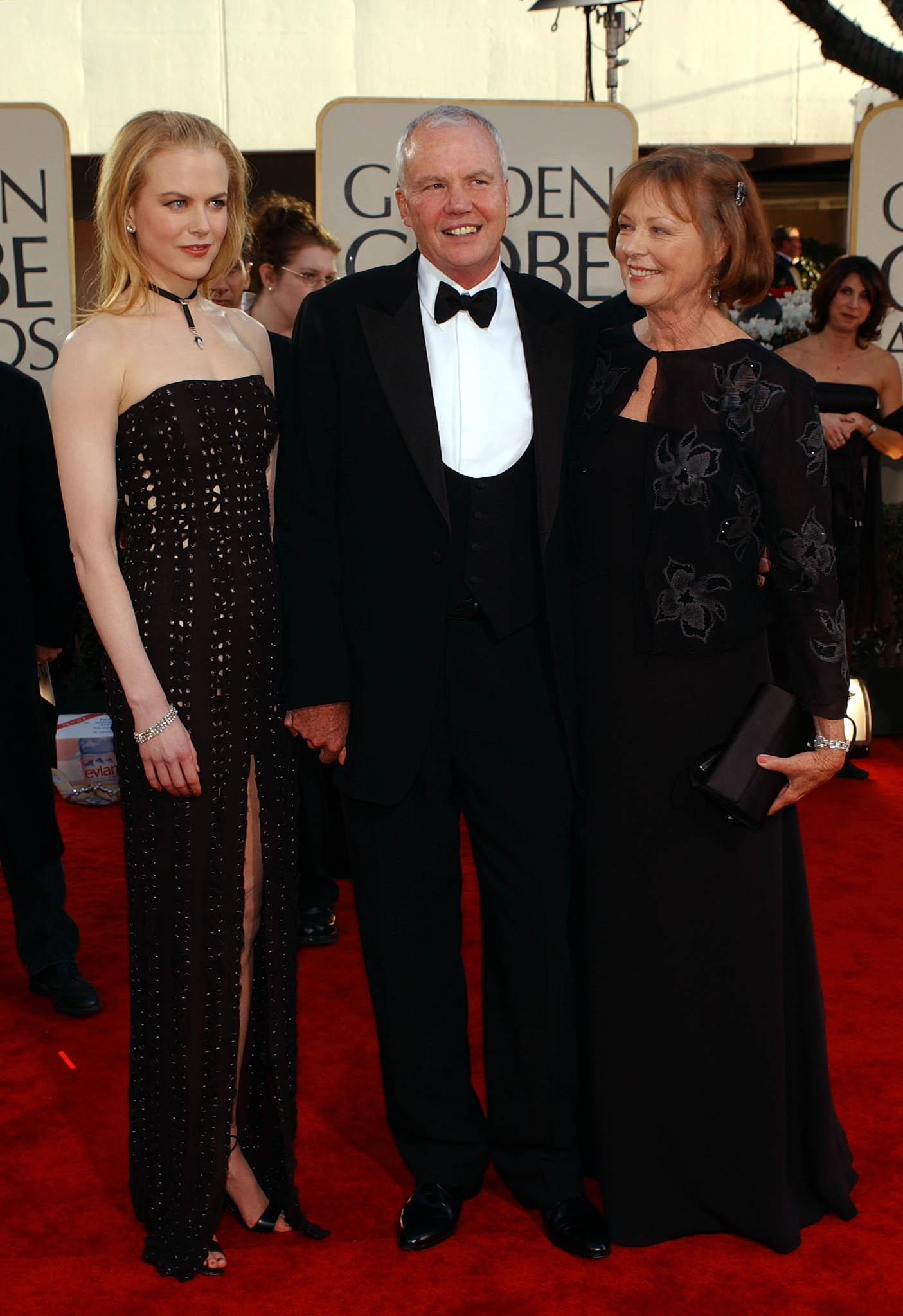 Nicole Kidman and her parents Antony and Janelle Kidman arrive at the 59th Annual Golden Globe Awards at the Beverly Hilton in Beverly Hills in 2002.