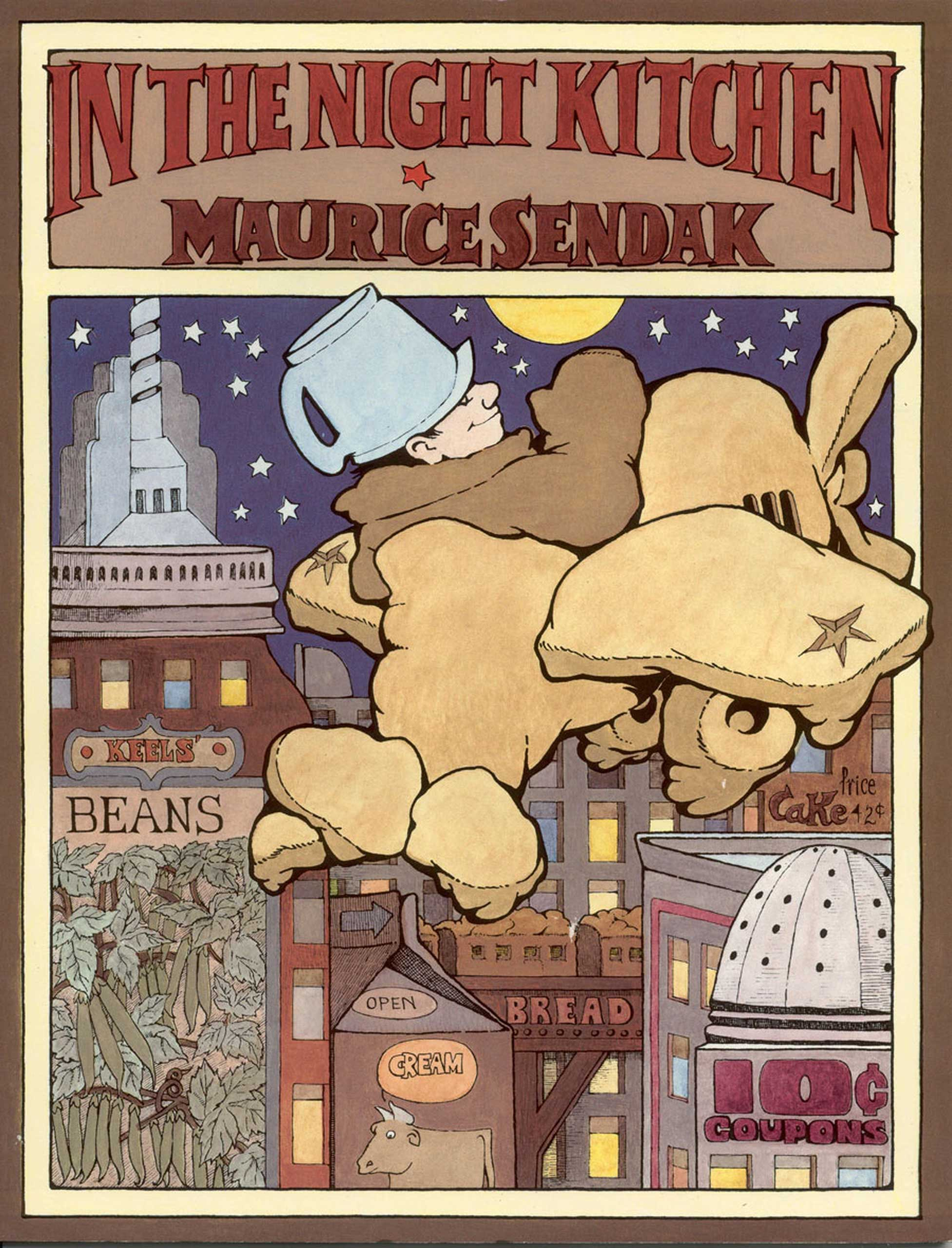 In the Night Kitchen, by Maurice Sendak.                                                                                                                            A child drifts through a dream world where bakers are preparing a tasty cake.                                                                                                                            Buy now: In the Night Kitchen