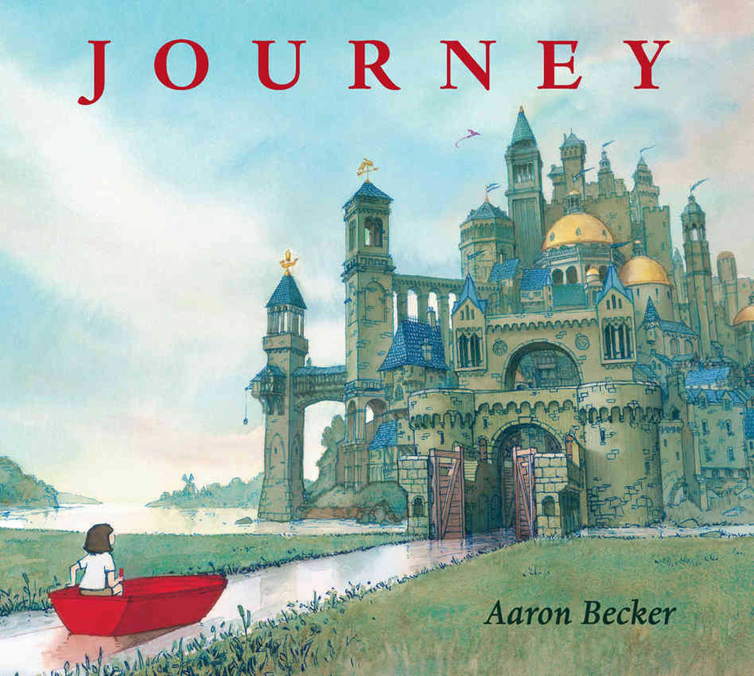 Journey, by Aaron Becker.                                                                                                                            A girl armed with a magic crayon draws to escape her boring, colorless world.                                                                                                                            Buy now: Journey
