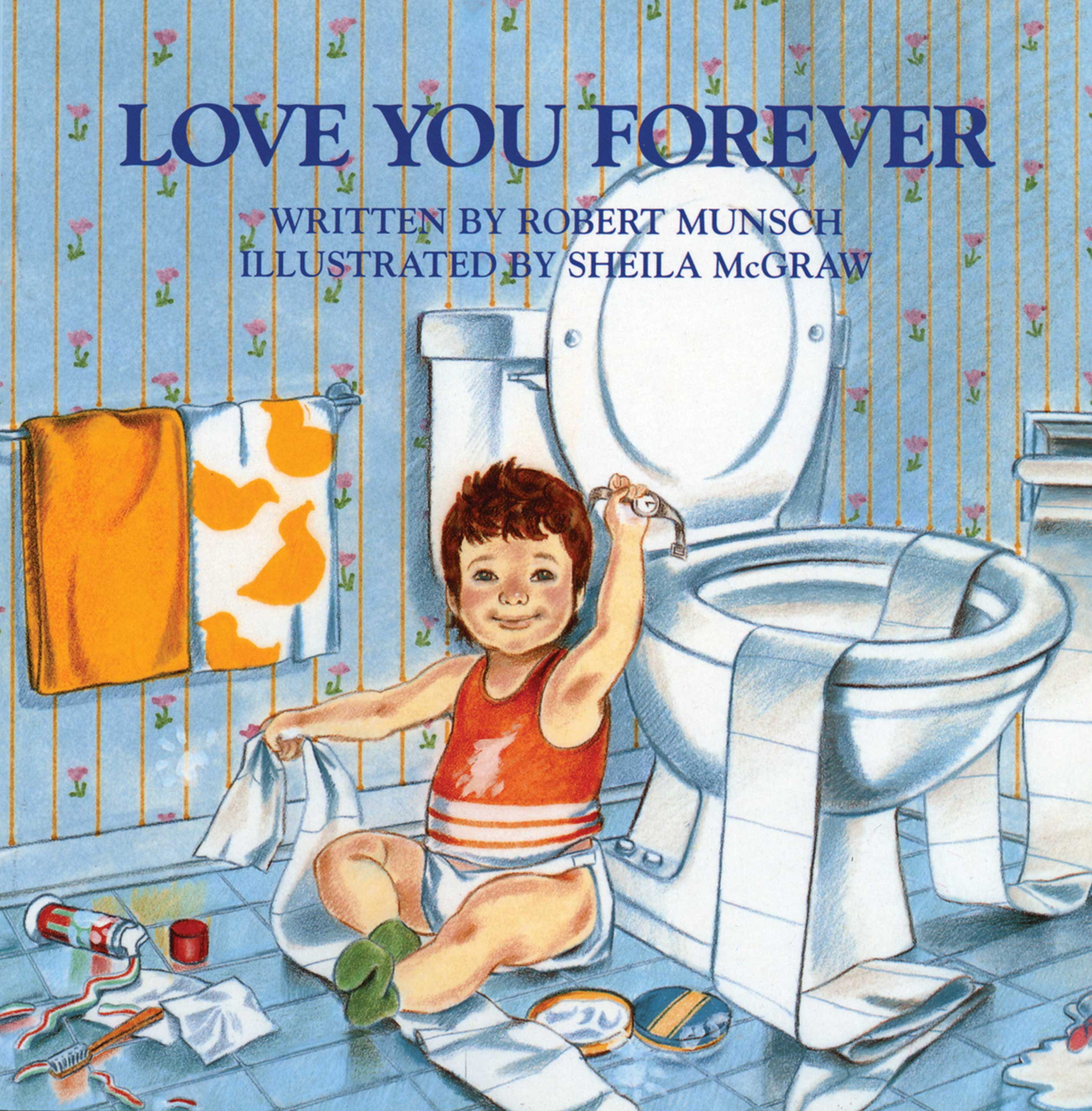Love You Forever, by Robert Munsch, illustrations by Sheila McGraw.                                                                                                                            A mother cradles her sleeping child and sings him a lullaby, and keeps up the habit for years and years.                                                                                                                            Buy now: Love You Forever