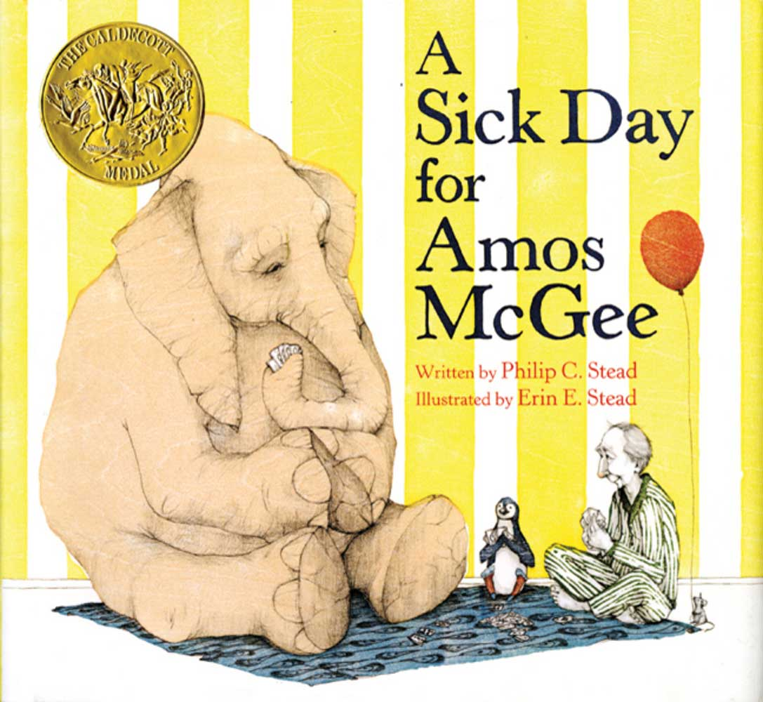 A Sick Day for Amos McGee, by Philip C. Stead, illustrations by Erin E. Stead.                                                                                                                            An elderly man makes daily visits to his animal pals at the zoo, and they return the favor when he falls sick.                                                                                                                            Buy now: A Sick Day for Amos McGee