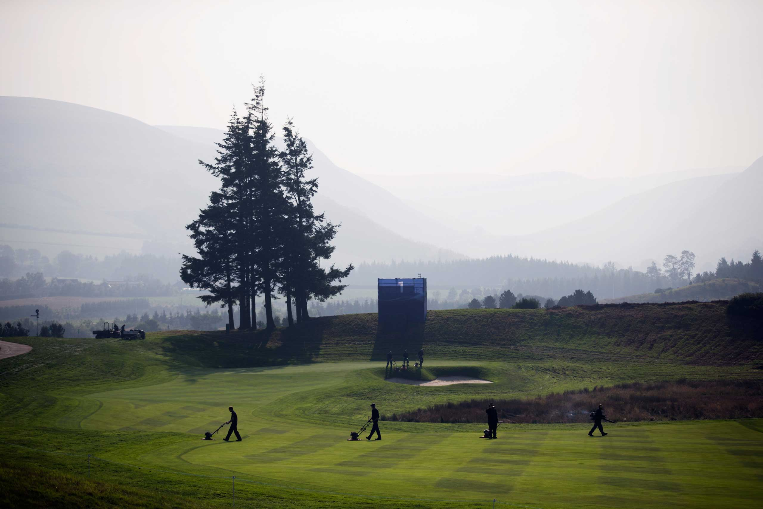 Sept. 21, 2014.  Greenkeepers work on the 1st fairway in preparation for the start of the Ryder Cup golf tournament in Gleneagles, Scotland.
