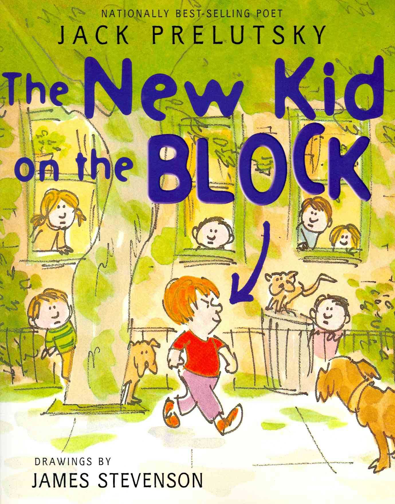 The New Kid on the Block, by Jack Prelutsky, illustrations by James Stevenson.                                                                                                                            Poems full of sonic play and surreal imagery, taking on subject matters like jellyfish stew and a bouncing mouse.                                                                                                                            Buy now: The New Kid on the Block
